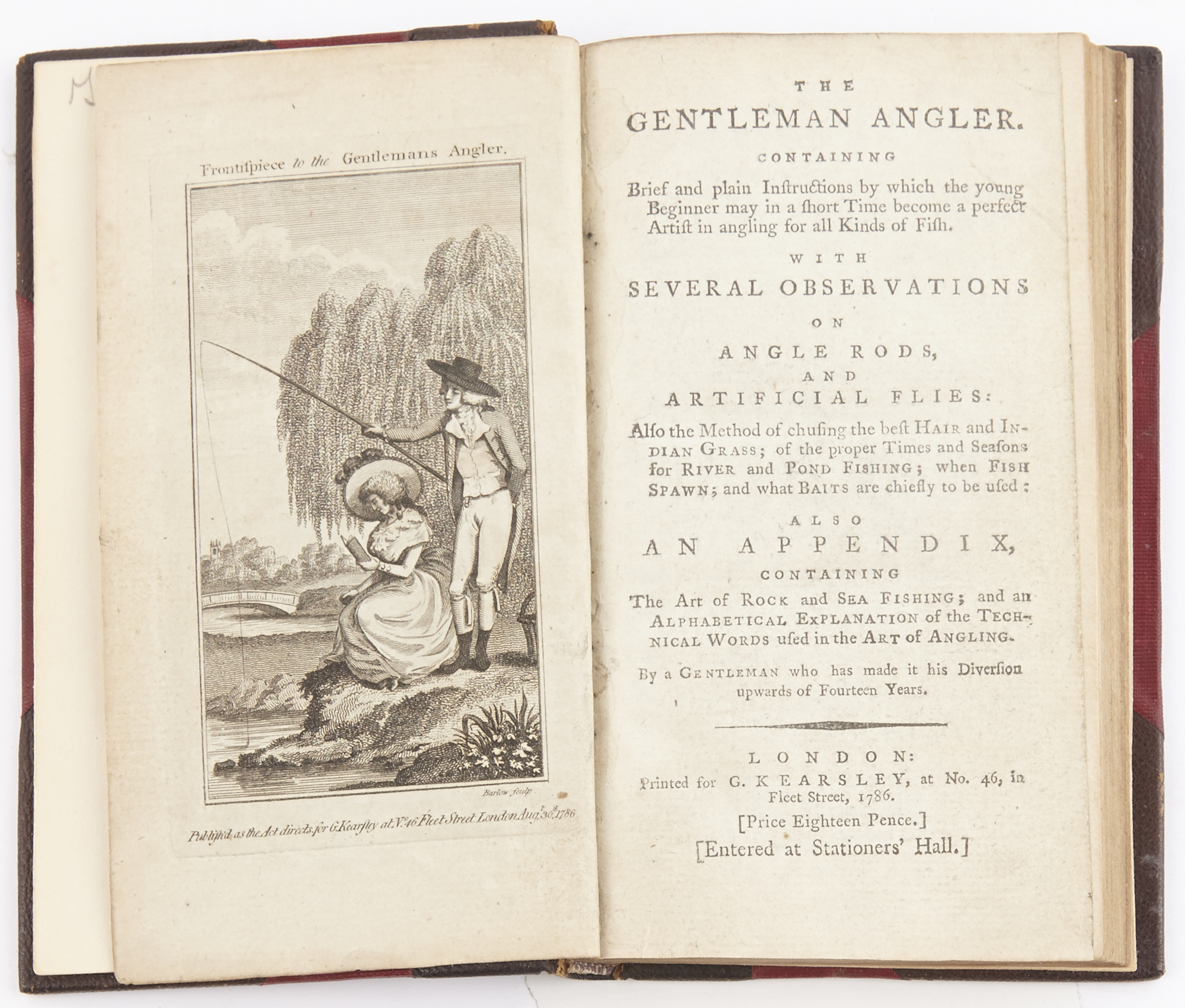 Lot image - [ANON]  The gentleman angler. Containing brief and plain instructions  by which the young beginner may in a short time become a perfect artist in angling for all Kinds of Fish...