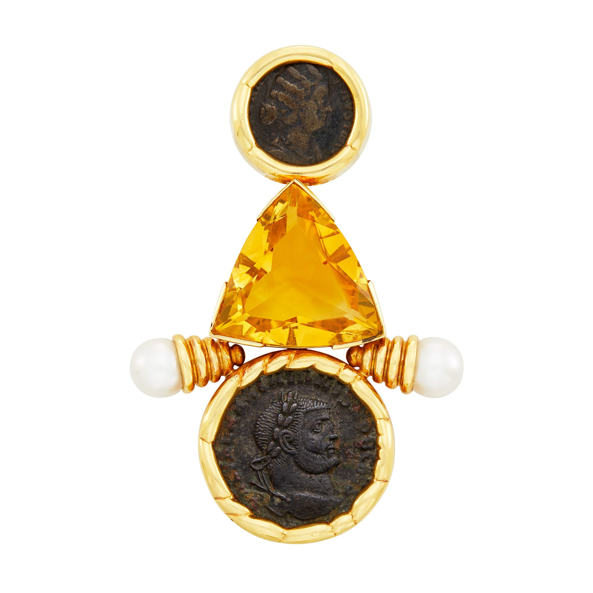 Lot image - Gold, Bronze Coin, Citrine and Cultured Pearl Clip-Brooch