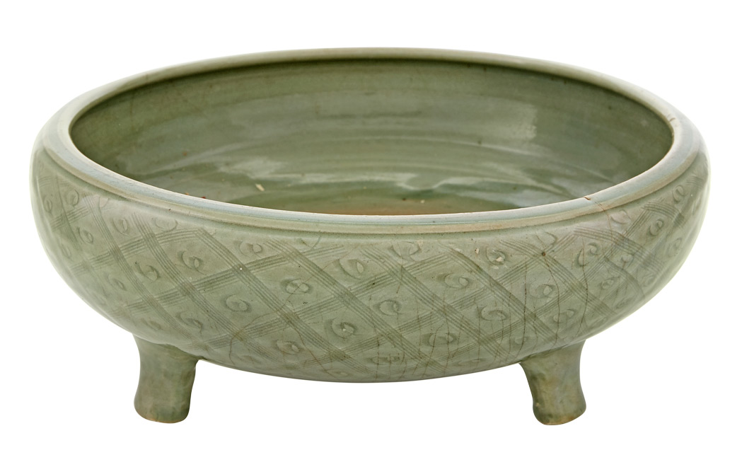 Lot image - Chinese Longquan Celadon Glazed Tripod Censer