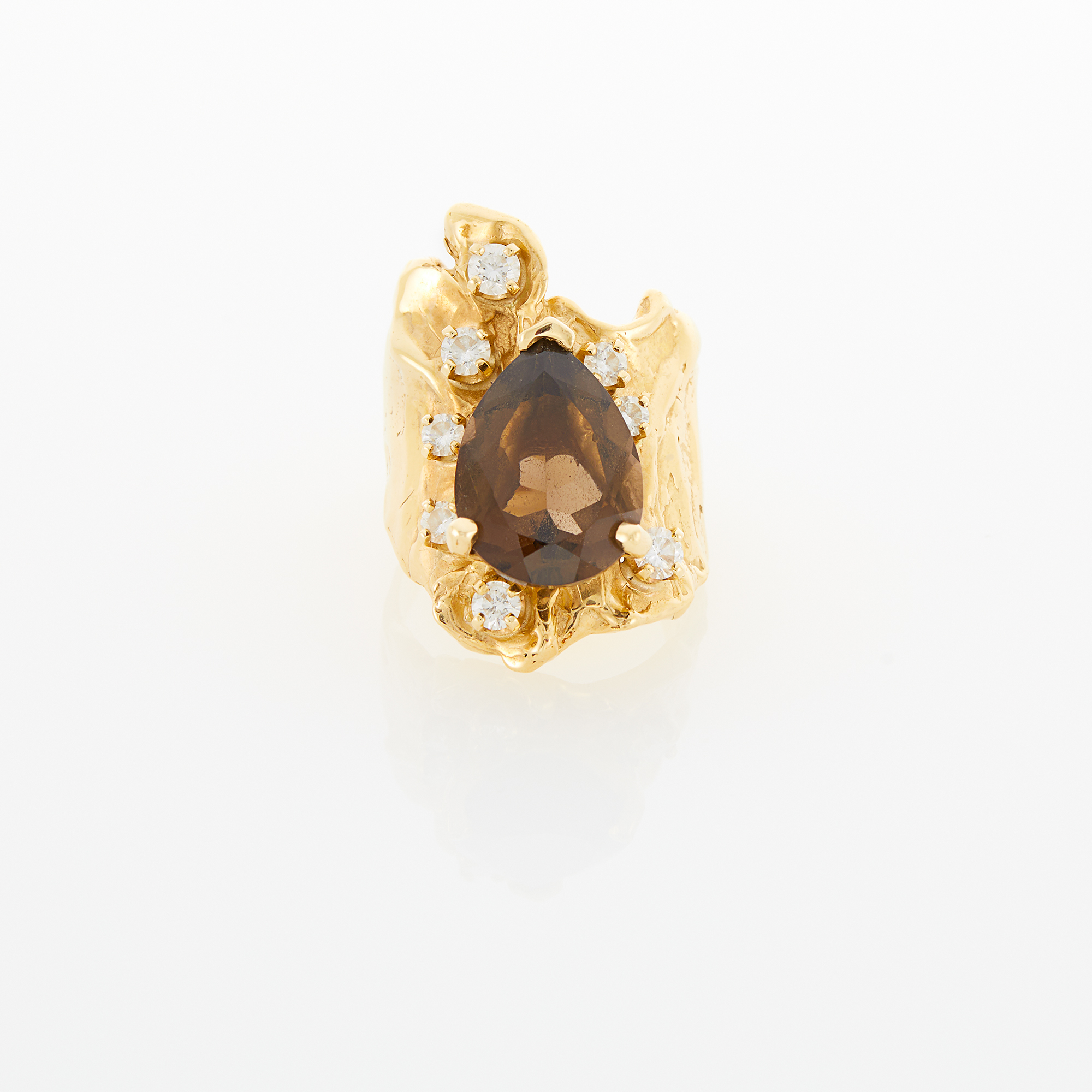 Lot image - Wide Gold, Smoky Quartz and Diamond Ring