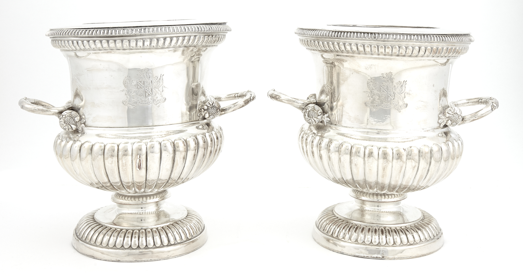 Lot image - Pair of Regency Silver Plated Wine Coolers