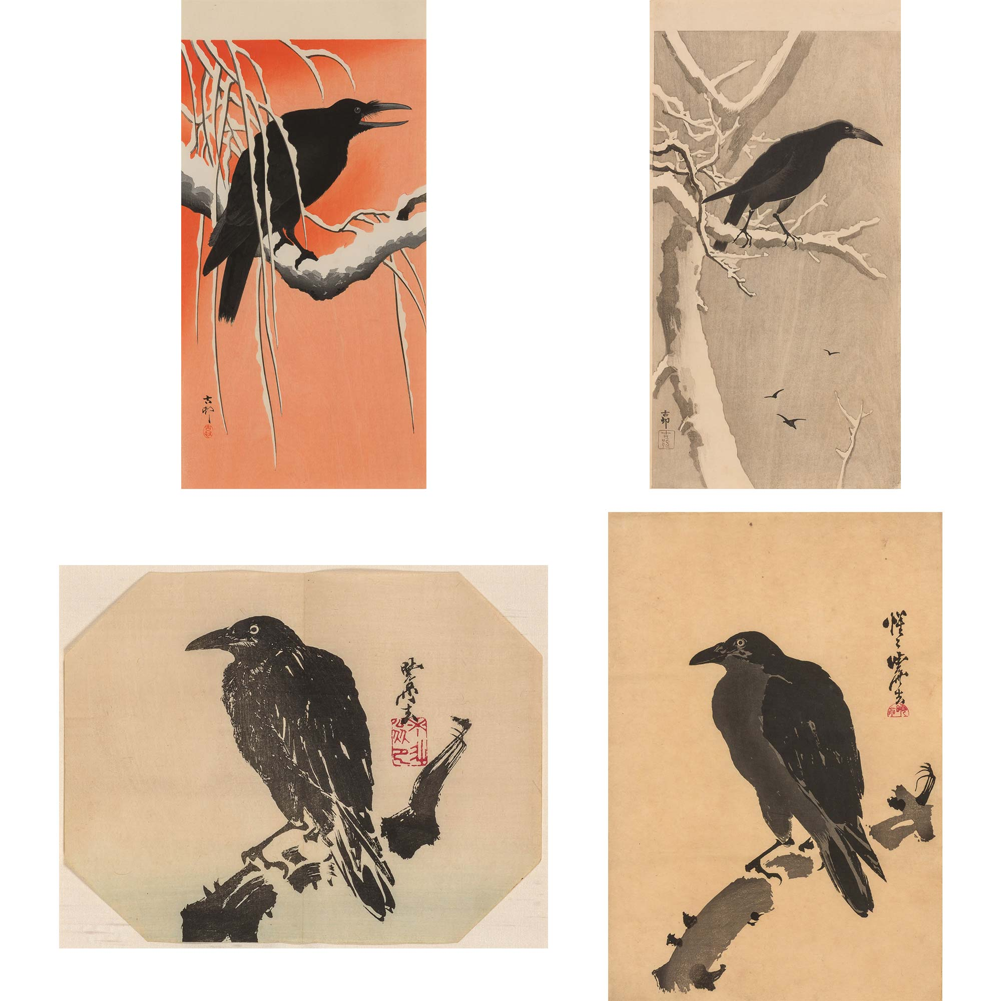 Lot image - Group of Four Japanese Woodblock Prints of Crows