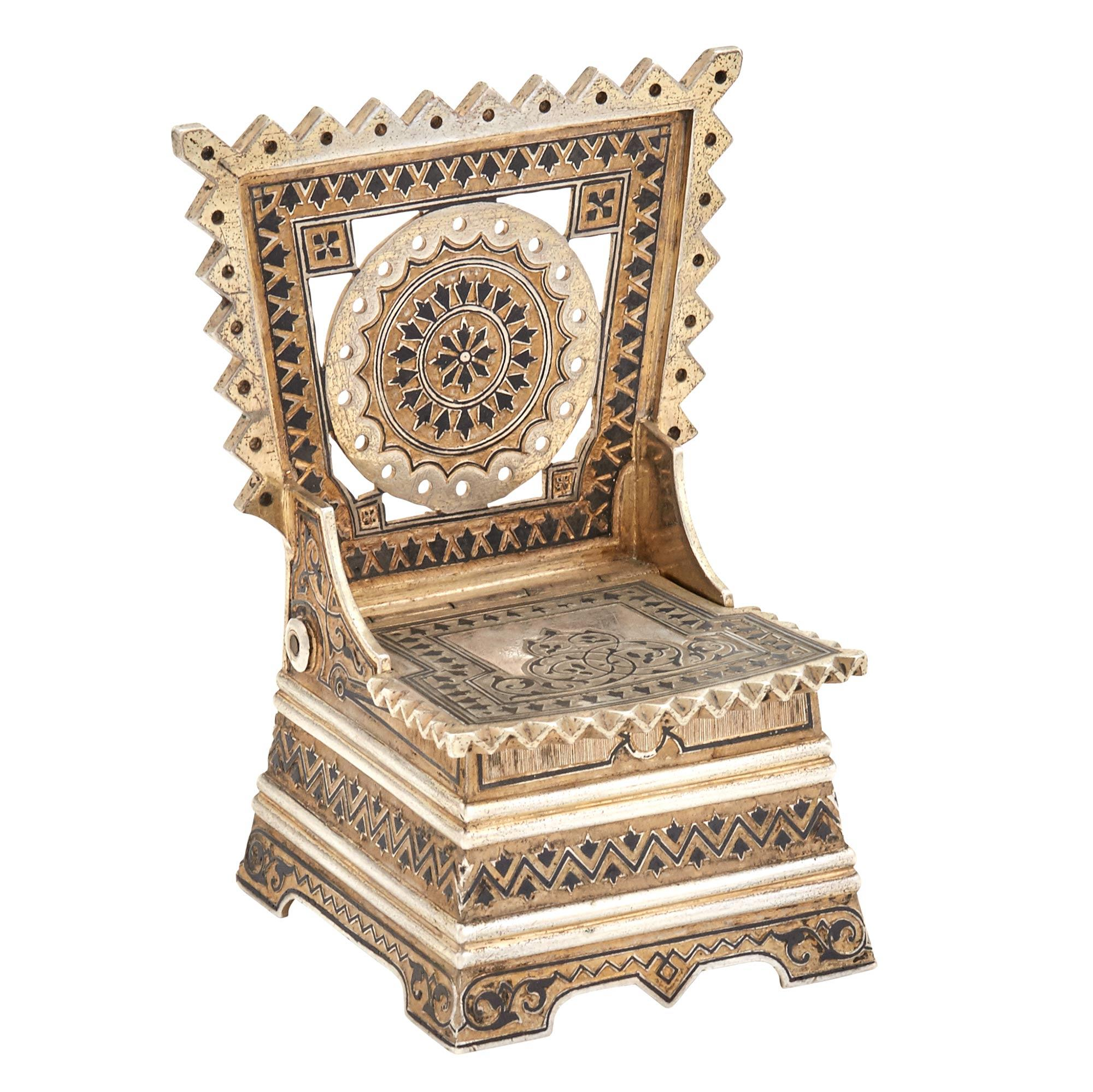 Lot image - Russian Silver-Gilt and Niello Salt Throne