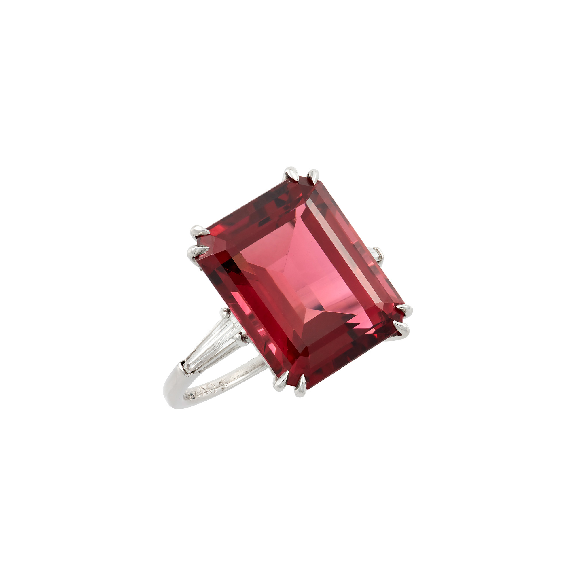 Lot image - Platinum, Rubellite and Diamond Ring