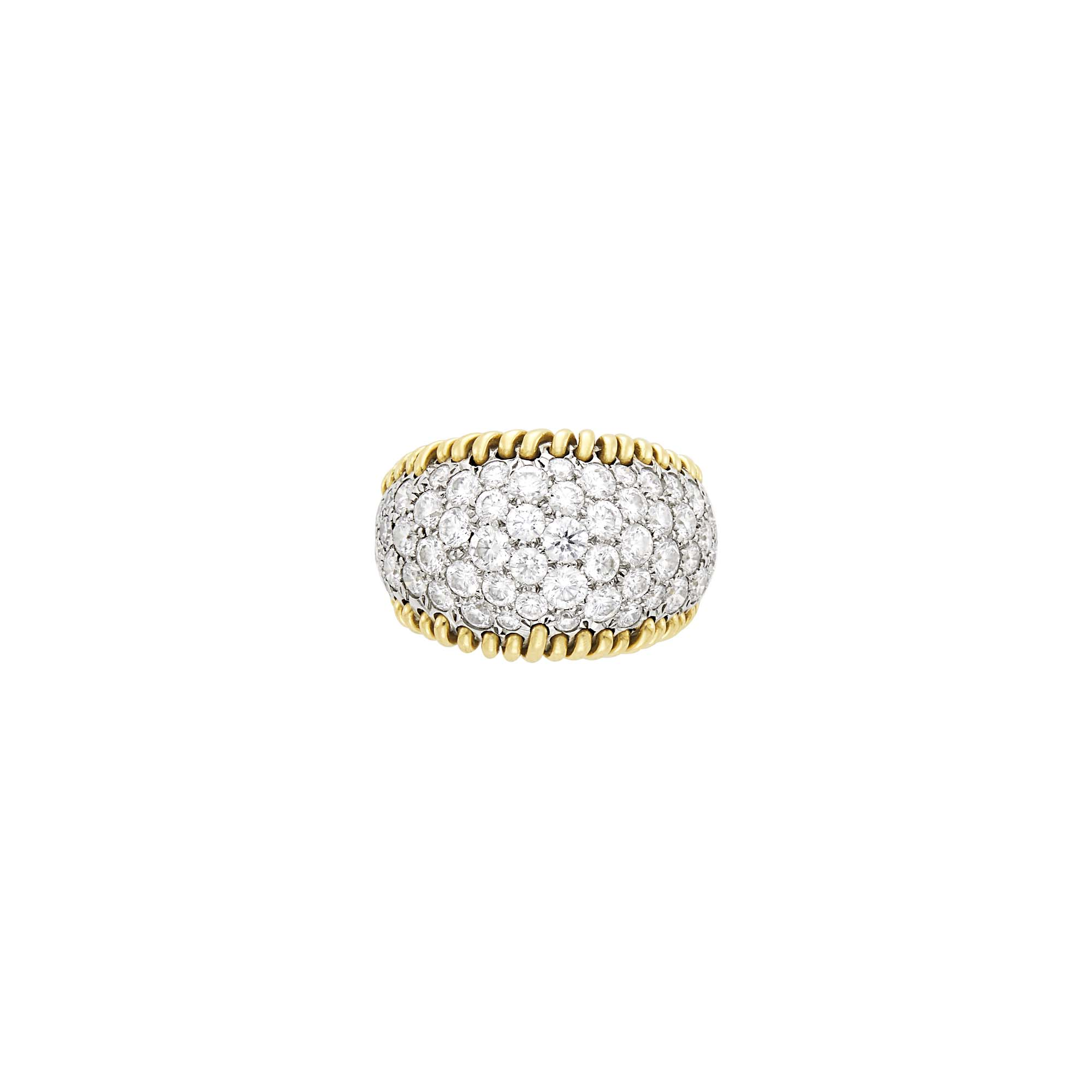 Lot image - Tiffany & Co., Schlumberger Gold, Platinum and Diamond Stitches Ring