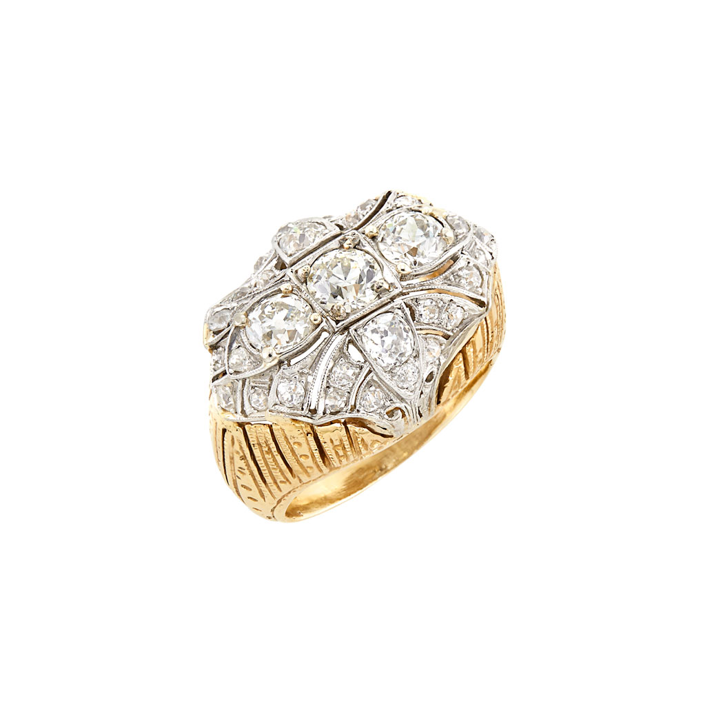 Lot image - Platinum, Gold and Diamond Ring