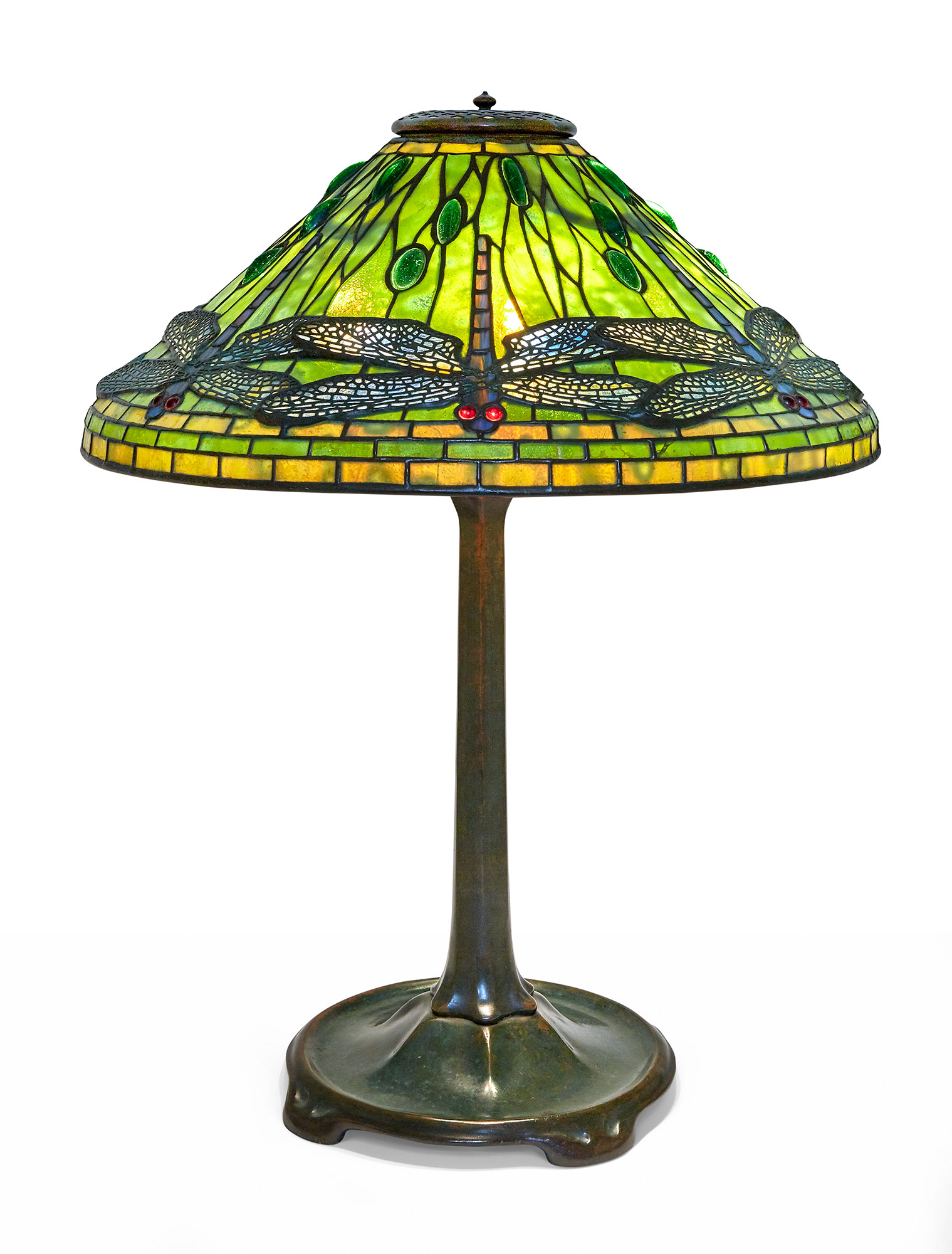 Lot image - Tiffany Studios Bronze and Leaded Glass Dragonfly Lamp