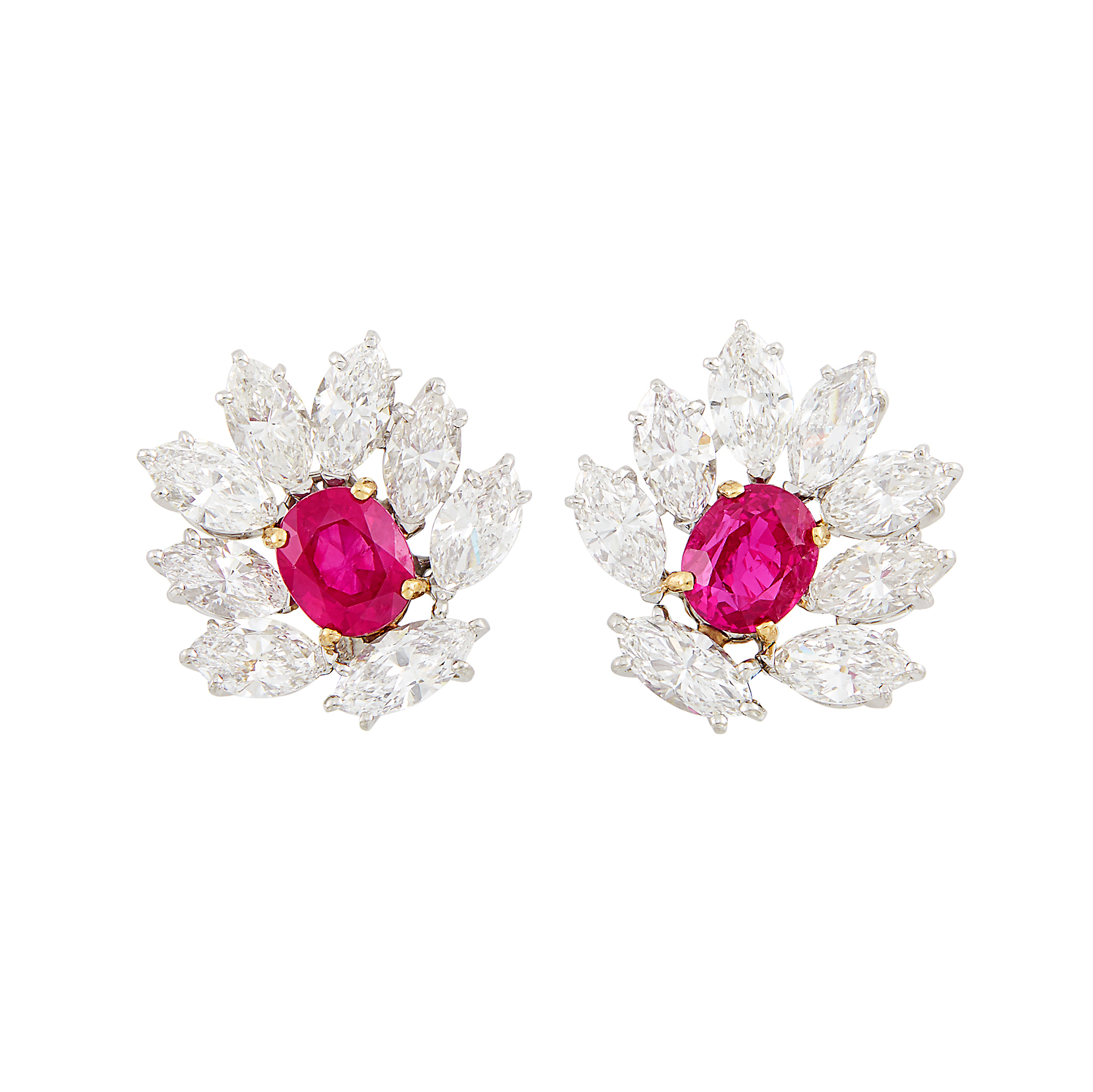 Lot image - Pair of Platinum, Gold, Ruby and Diamond Earrings