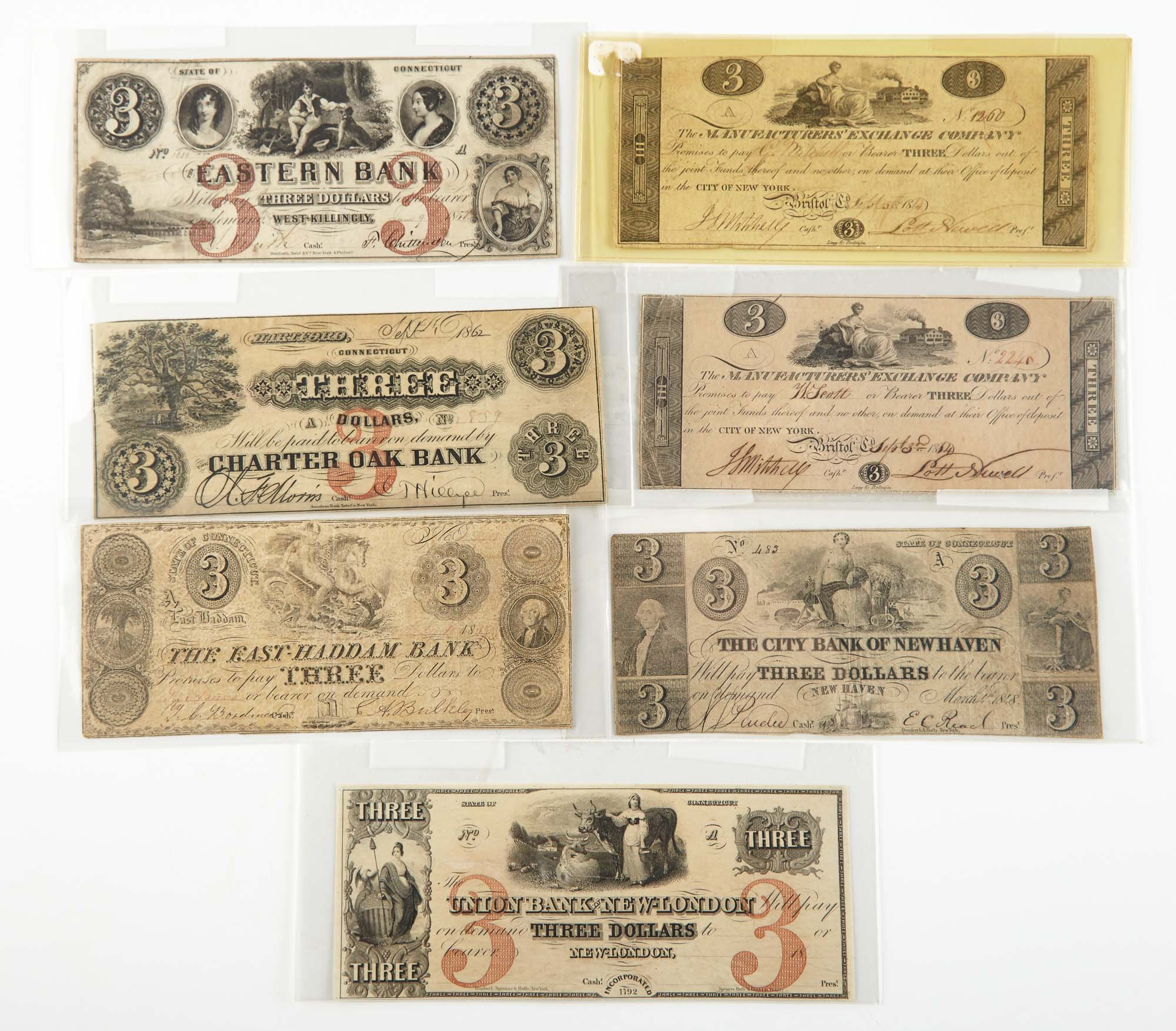 Lot image - United States $3 Obsolete Bank Notes of Connecticut