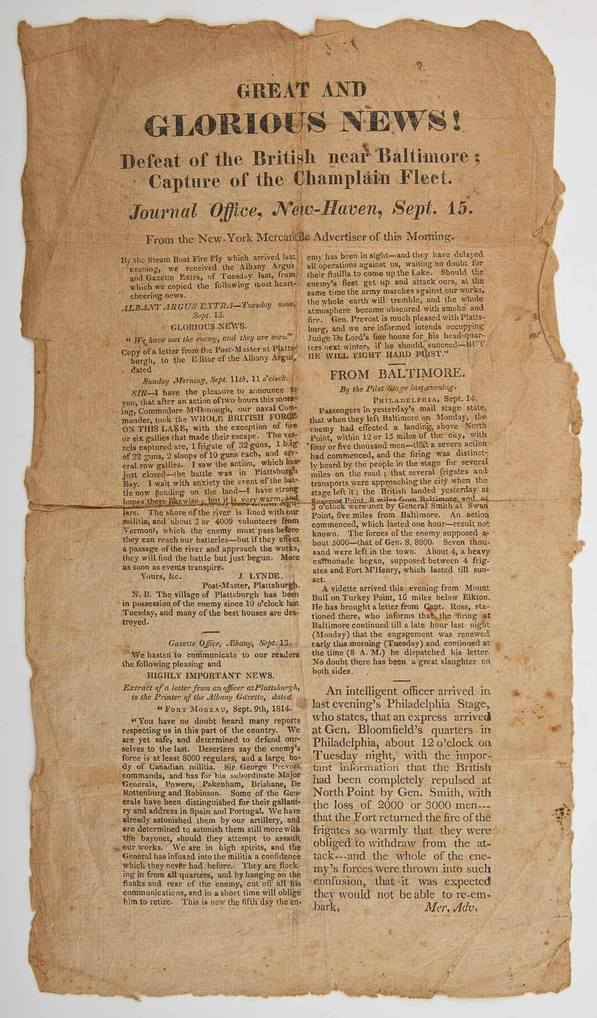 Lot image - [WAR OF 1812 - BROADSIDE]  Great and Glorious News! Defeat of the British near Baltimore; Capture of the Champlain Fleet.