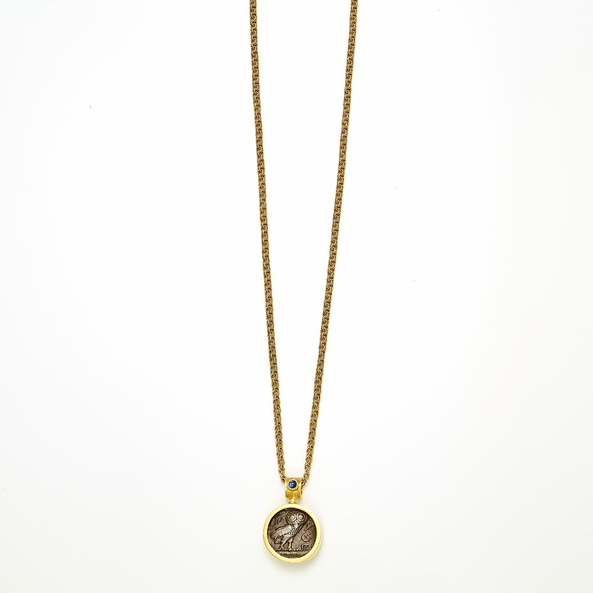 Lot image - Gold, Ancient Coin and Cabochon Sapphire Pendant on Chain Necklace