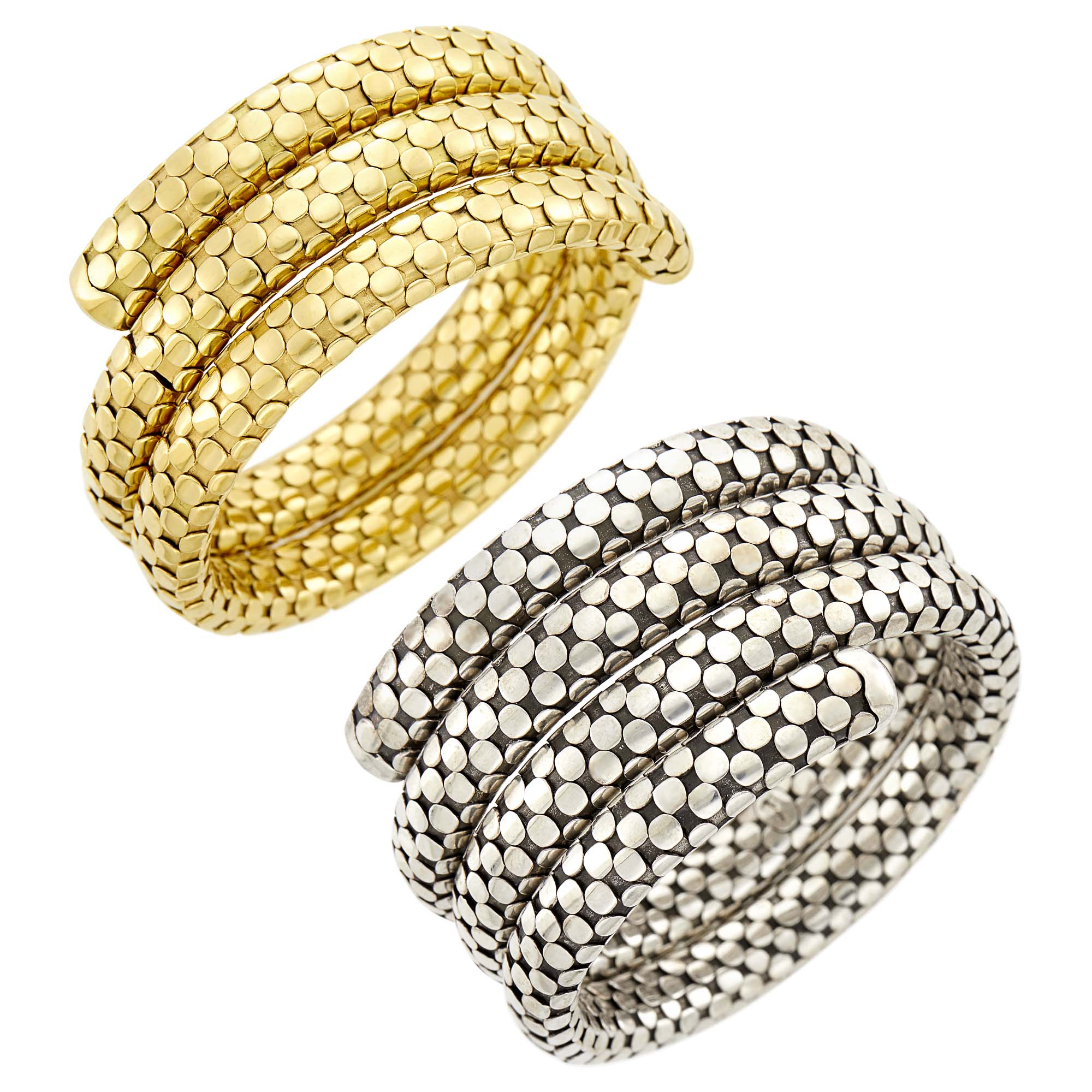 Lot image - John Hardy Pair of Sterling Silver and Gold Coiled Dot Bracelets