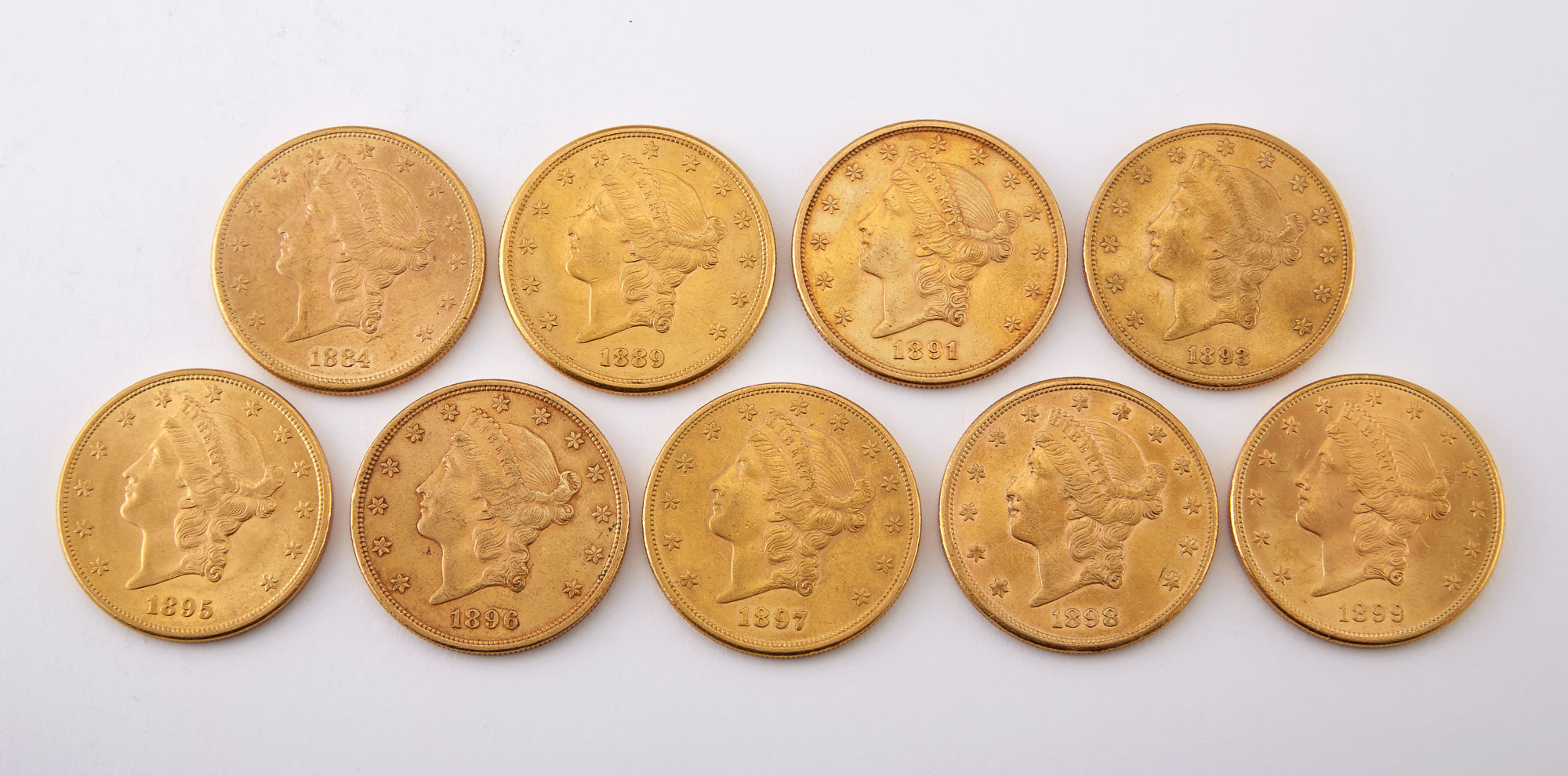 Lot image - United States Liberty Head Double Eagle Group of Nine