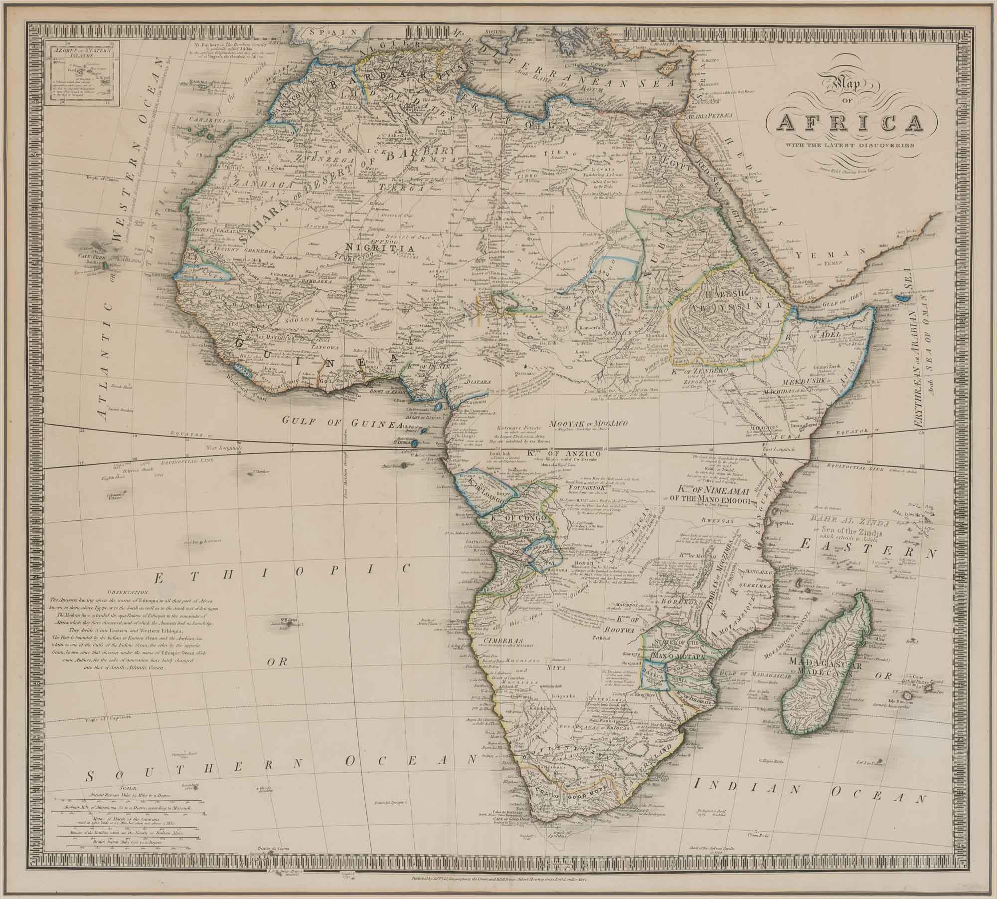 Lot image - [AFRICA]  Map of Africa with the Latest Discoveries.