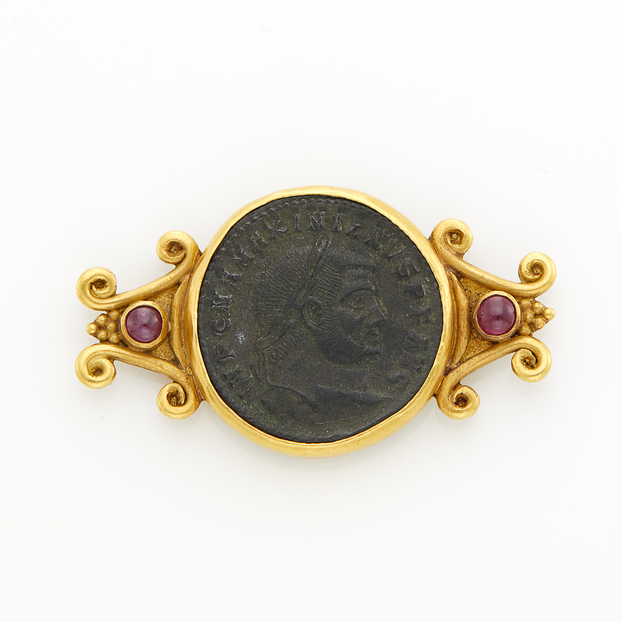Lot image - Gold, Ancient Coin and Cabochon Ruby Pin