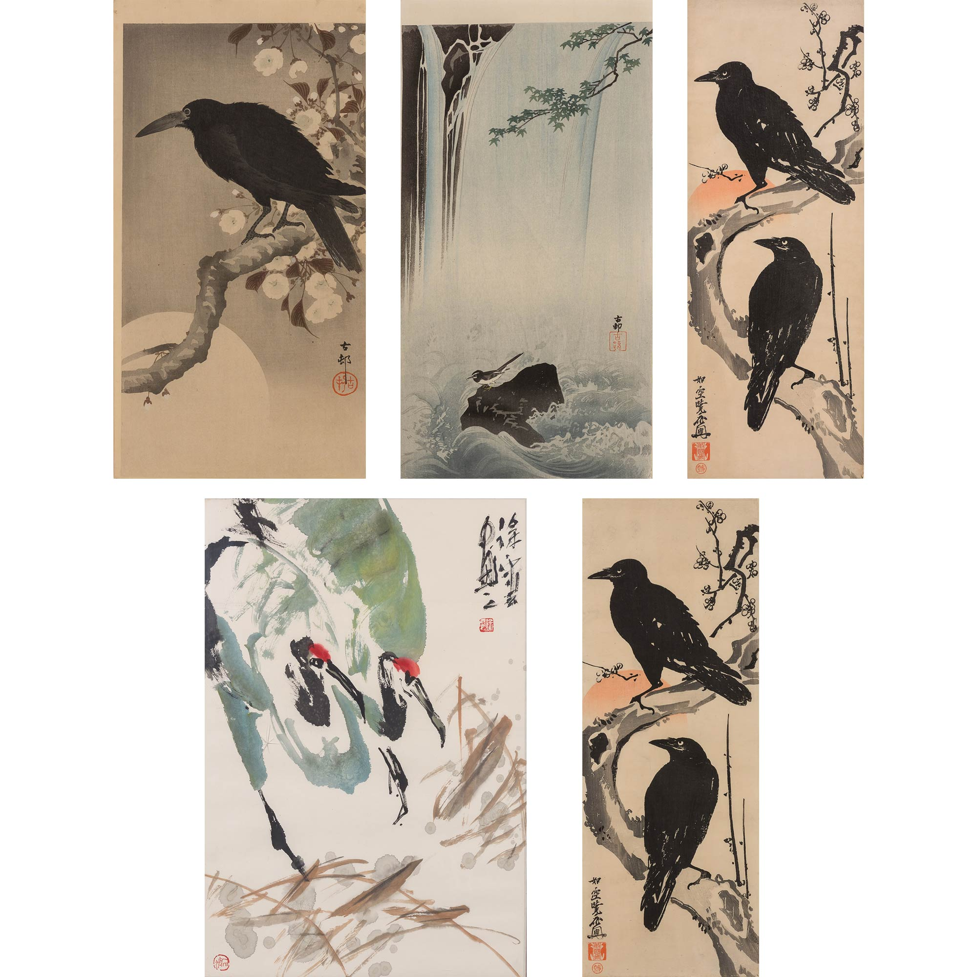 Lot image - Group of Five Japanese Woodblock Prints