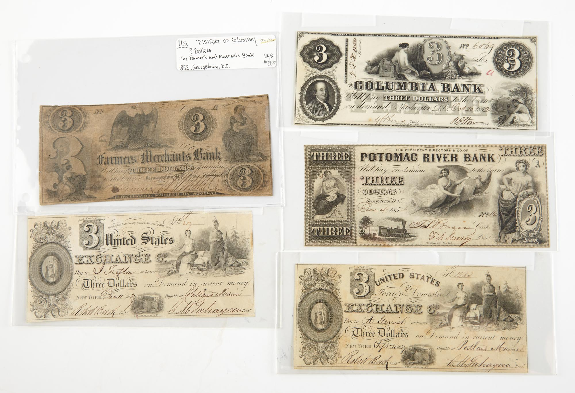 Lot image - United States $3 Obsolete Bank Note of District of Columbia