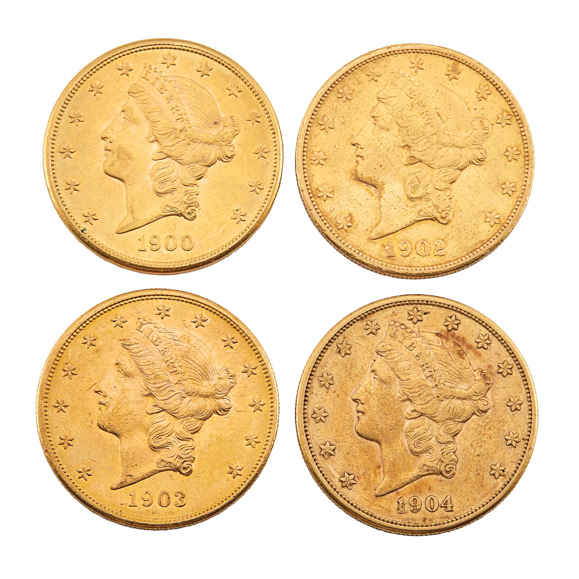 Lot image - United States Liberty Head Double Eagle Group of Four