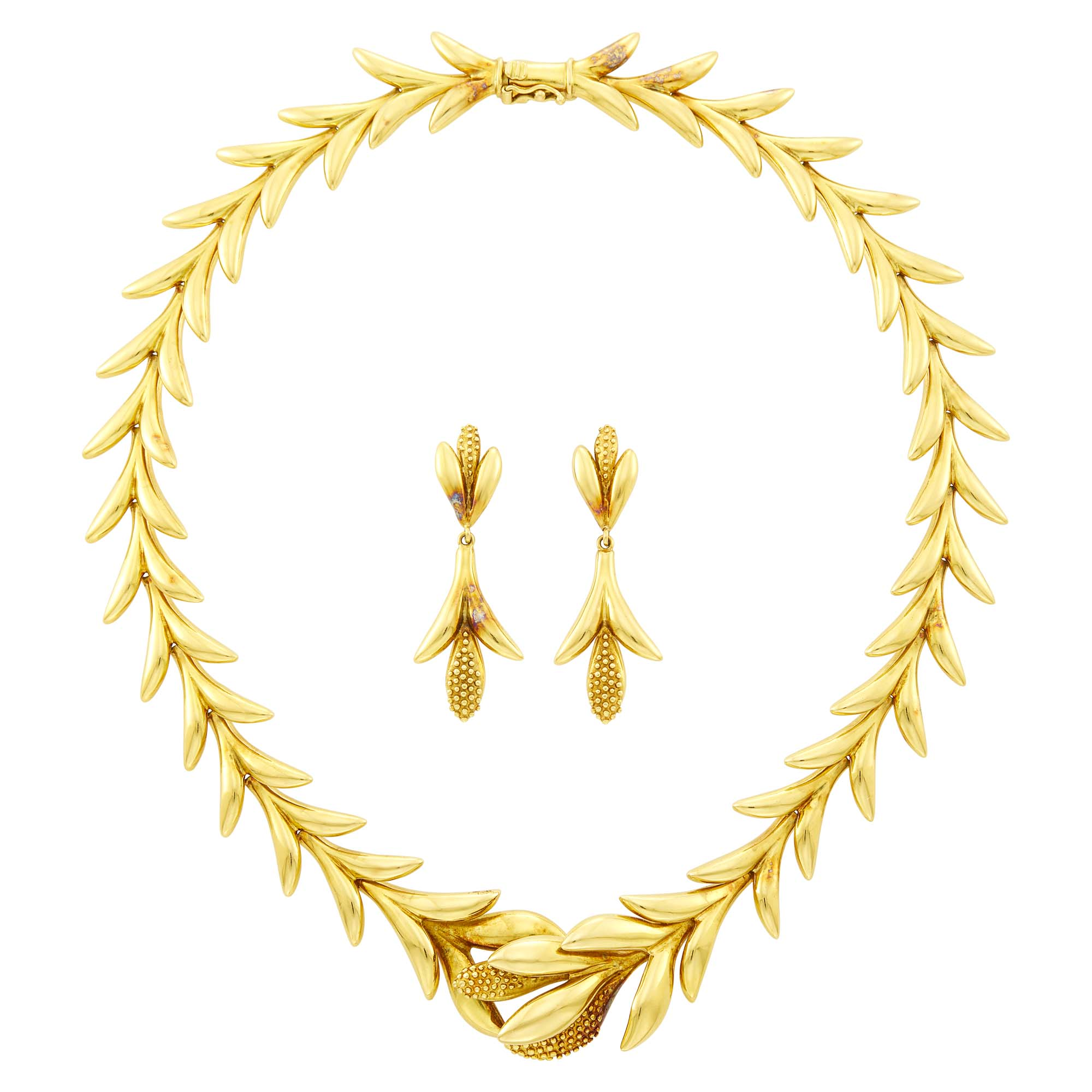 Lot image - Gold Necklace and Pair of Pendant-Earrings