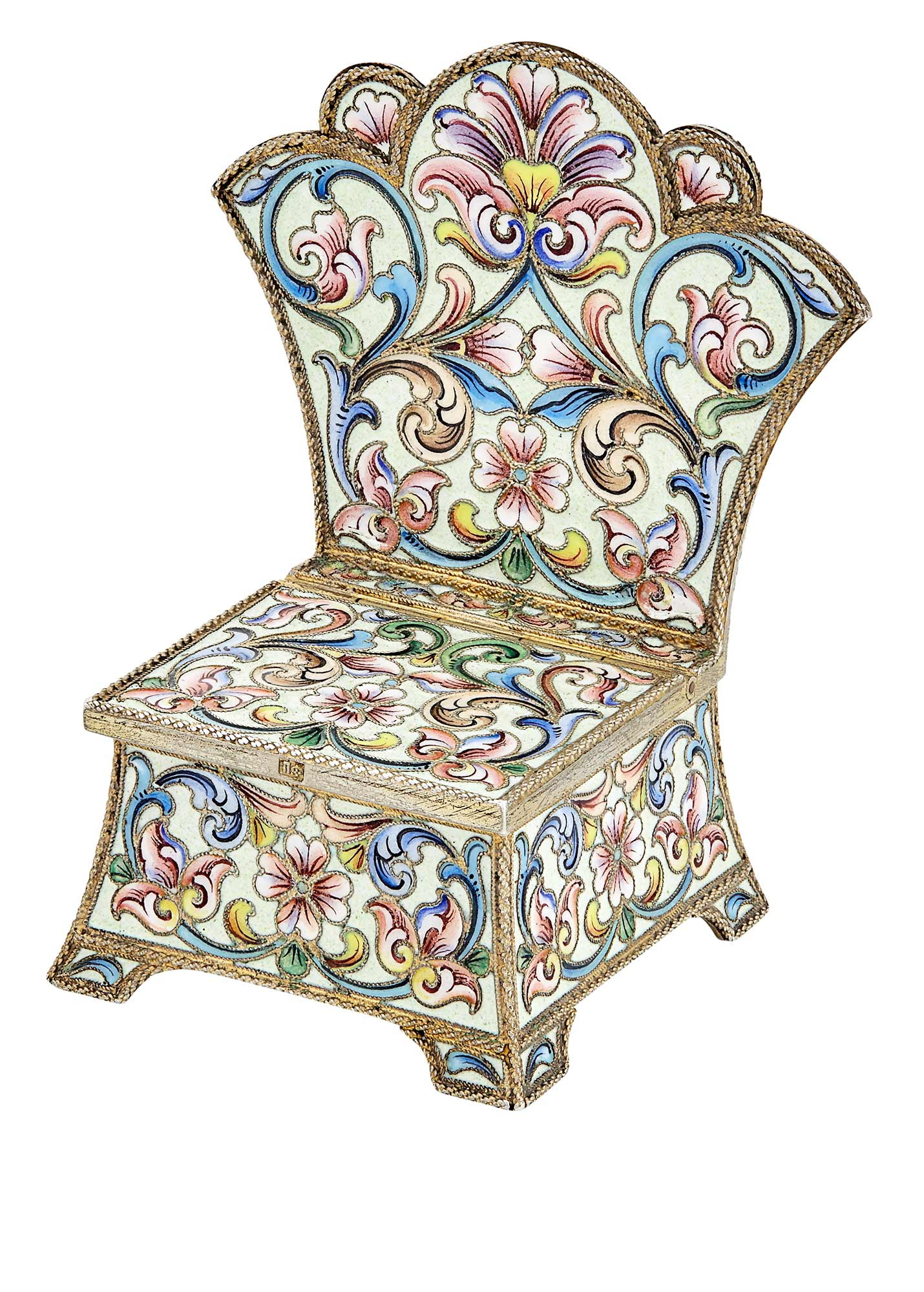 Lot image - Russian Silver and Cloisonné Enamel Salt Throne