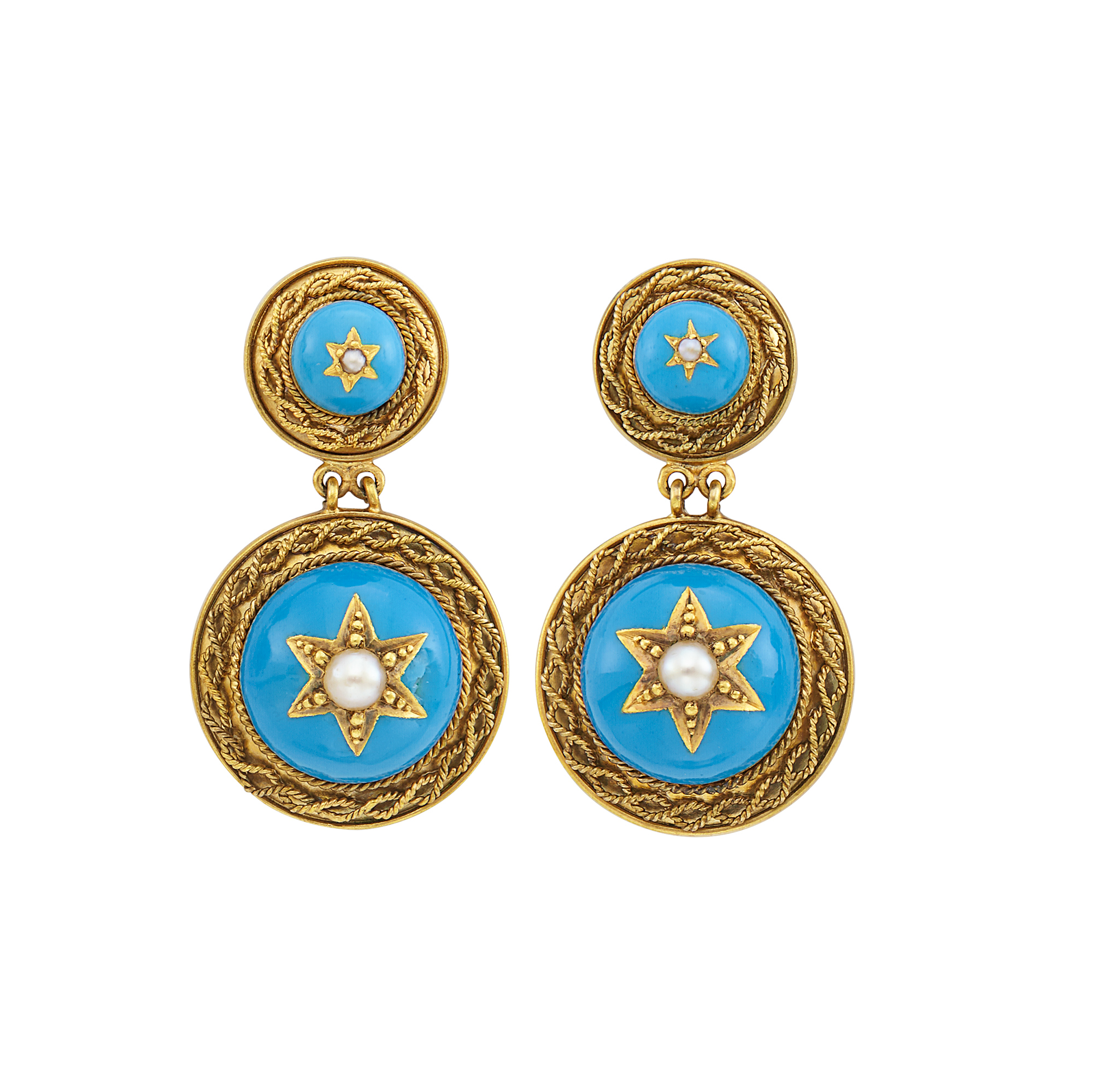 Lot image - Pair of Antique Gold, Turquoise Enamel and Split Pearl Pendant-Earrings