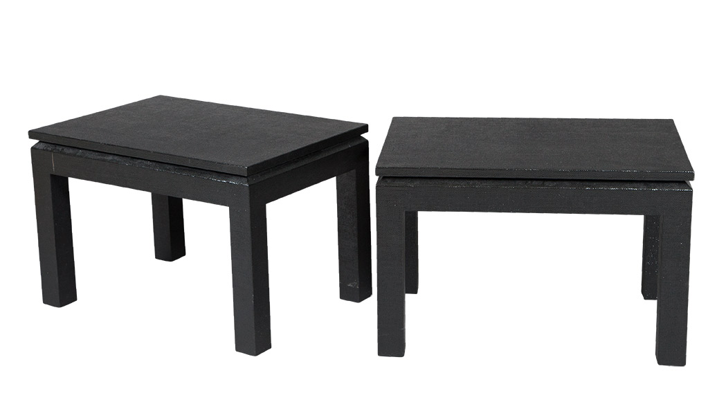 Lot image - Pair of Black Lacquered Linen Clad Low Side Tables