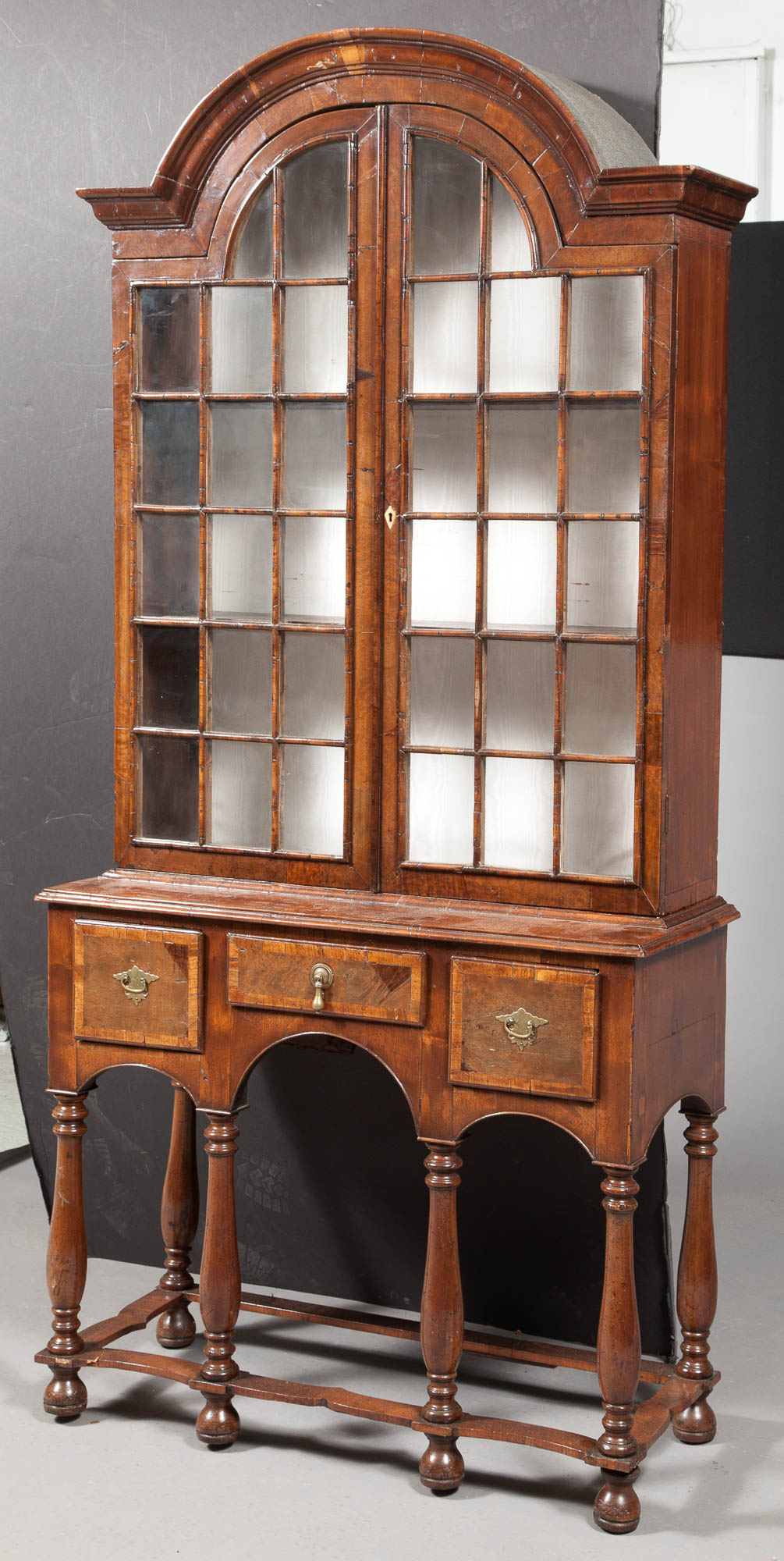 Lot image - William and Mary Style Walnut Vitrine Cabinet on Stand