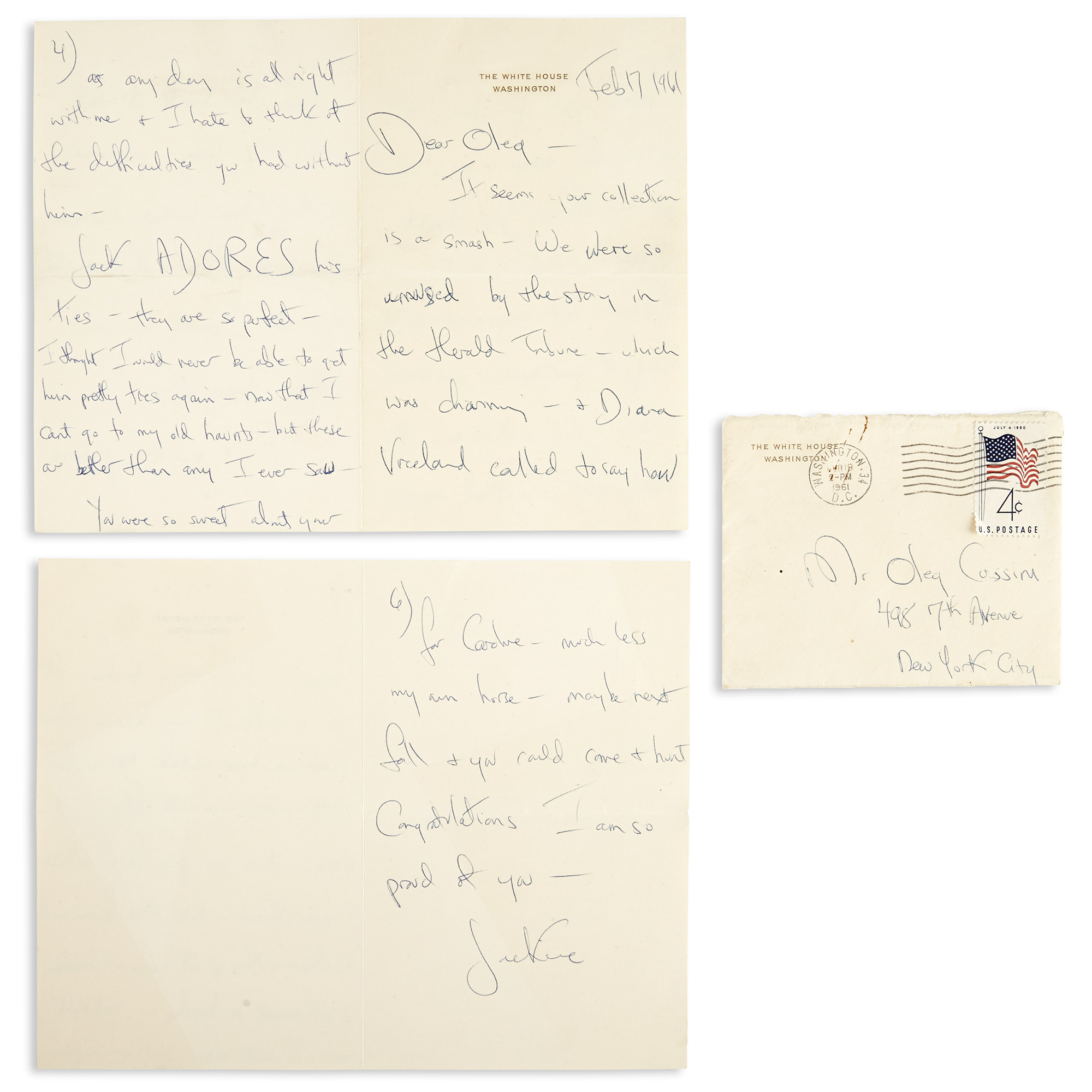 Lot image - KENNEDY, JACQUELINE as FIRST LADY  Autograph letter to Oleg Cassini.