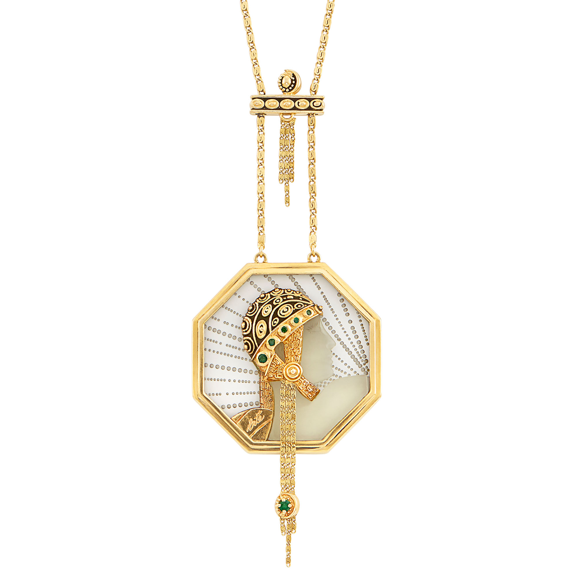 Lot image - Gold, Rock Crystal and Emerald Wings of Victory Pendant-Necklace, Erté