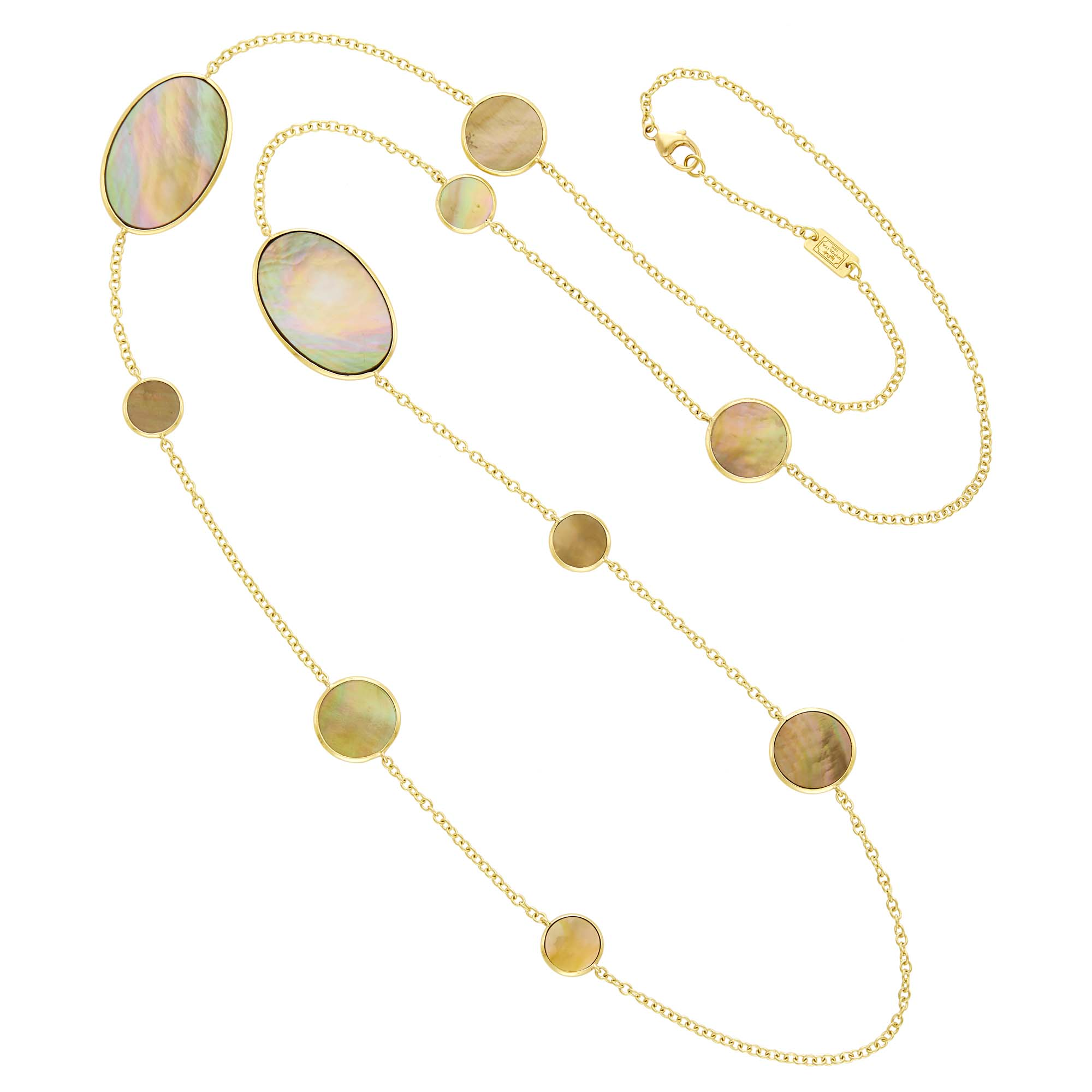 Lot image - Ippolita Long Gold and Gray Mother-of-Pearl Rock Candy Chain Necklace