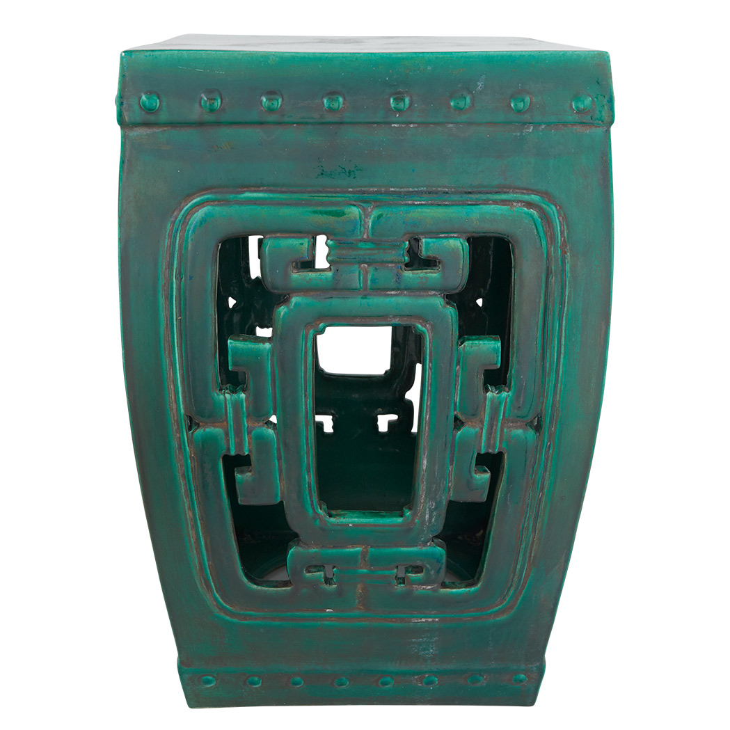 Lot image - Chinese Green Glazed Ceramic Square Seat Openwork Garden Seat