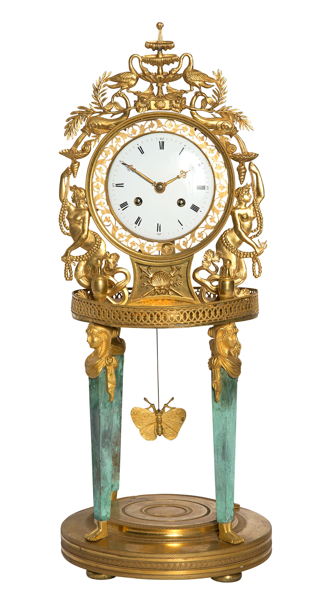Lot image - Empire Gilt- and Patinated-Bronze Mantel Clock
