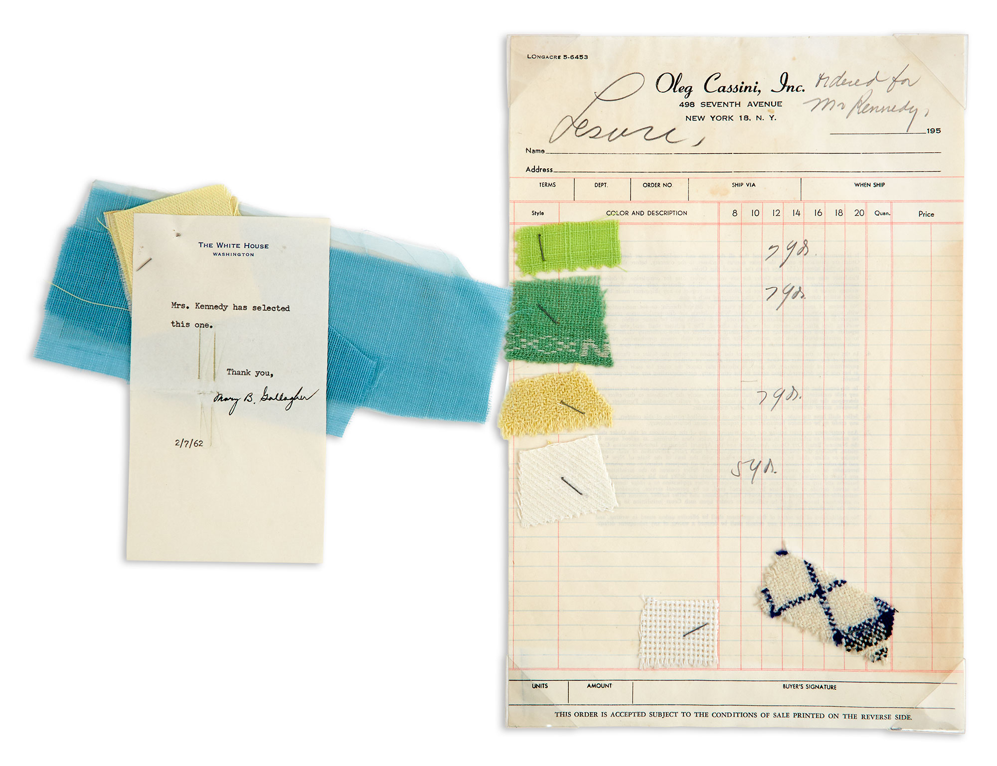 Lot image - [KENNEDY, JACQUELINE as FIRST LADY]  Group of fabric swatches selected by Mrs. Kennedy and interesting Cassini workshop ephemera including Mrs. Kennedys measurements.