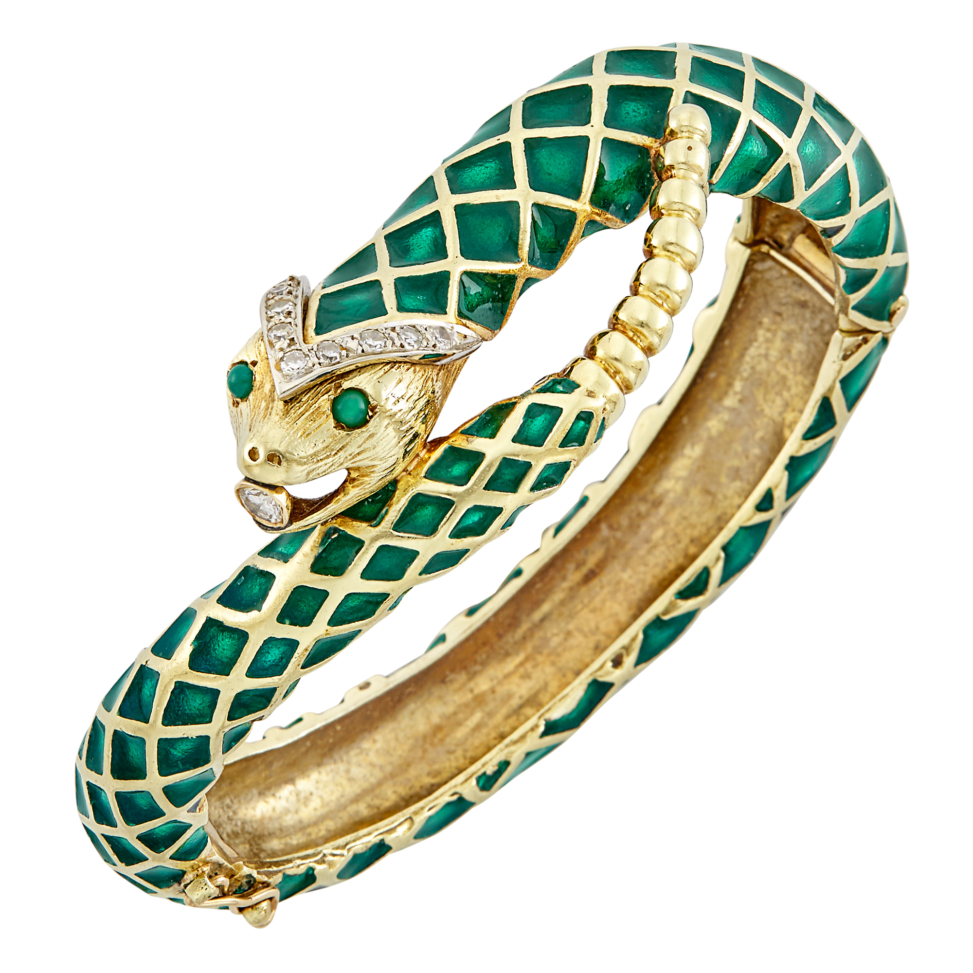 Lot image - Gold, Green Enamel and Diamond Snake Bangle Bracelet
