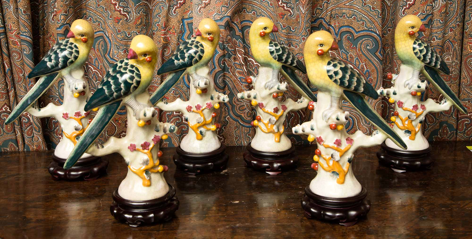 Lot image - Set of Six Chinese Porcelain Figures of Parrots