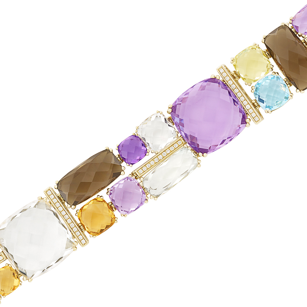 Lot image - Gold, Colored Stone and Diamond Bracelet