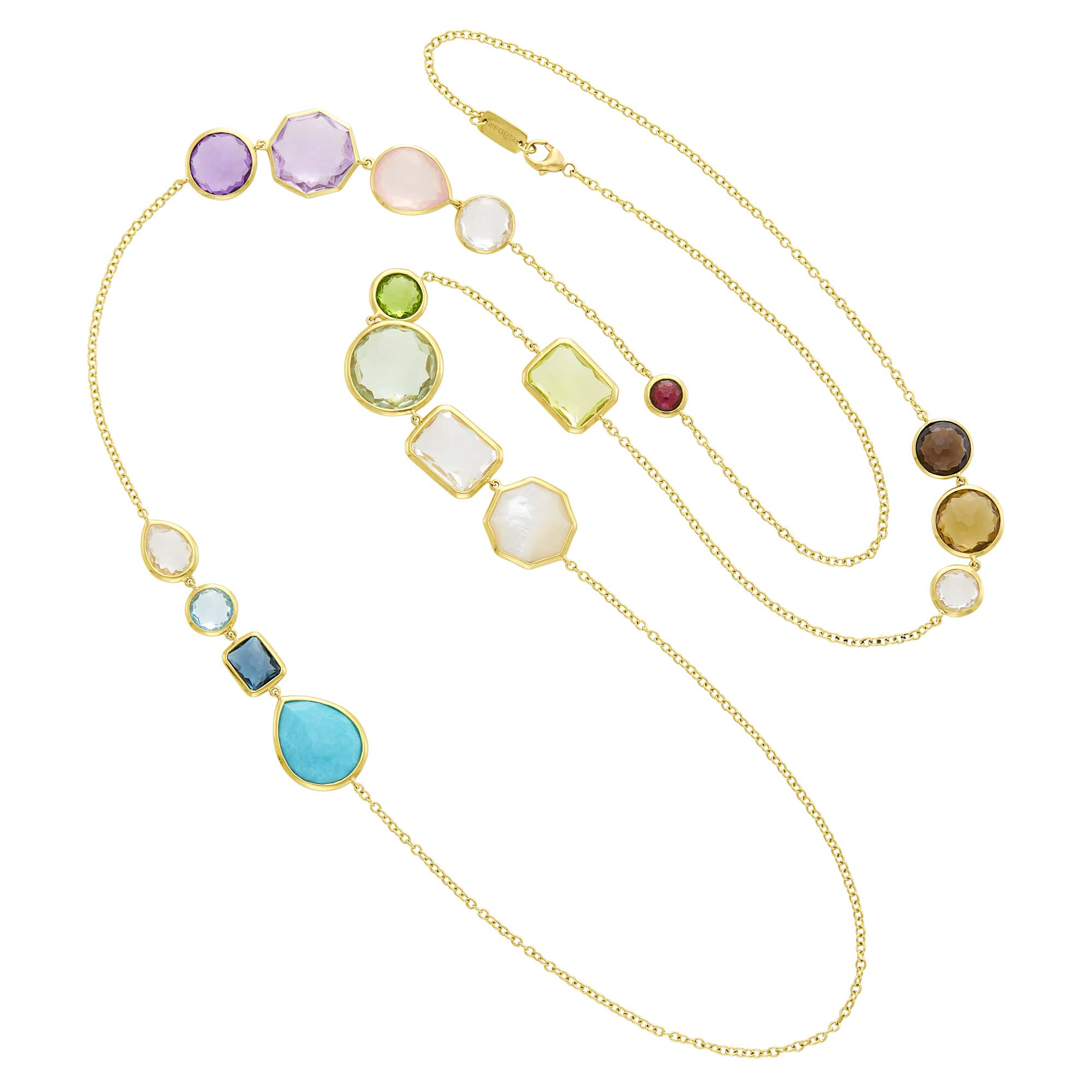 Lot image - Ippolita Long Gold and Colored Stone Rock Candy Chain Necklace