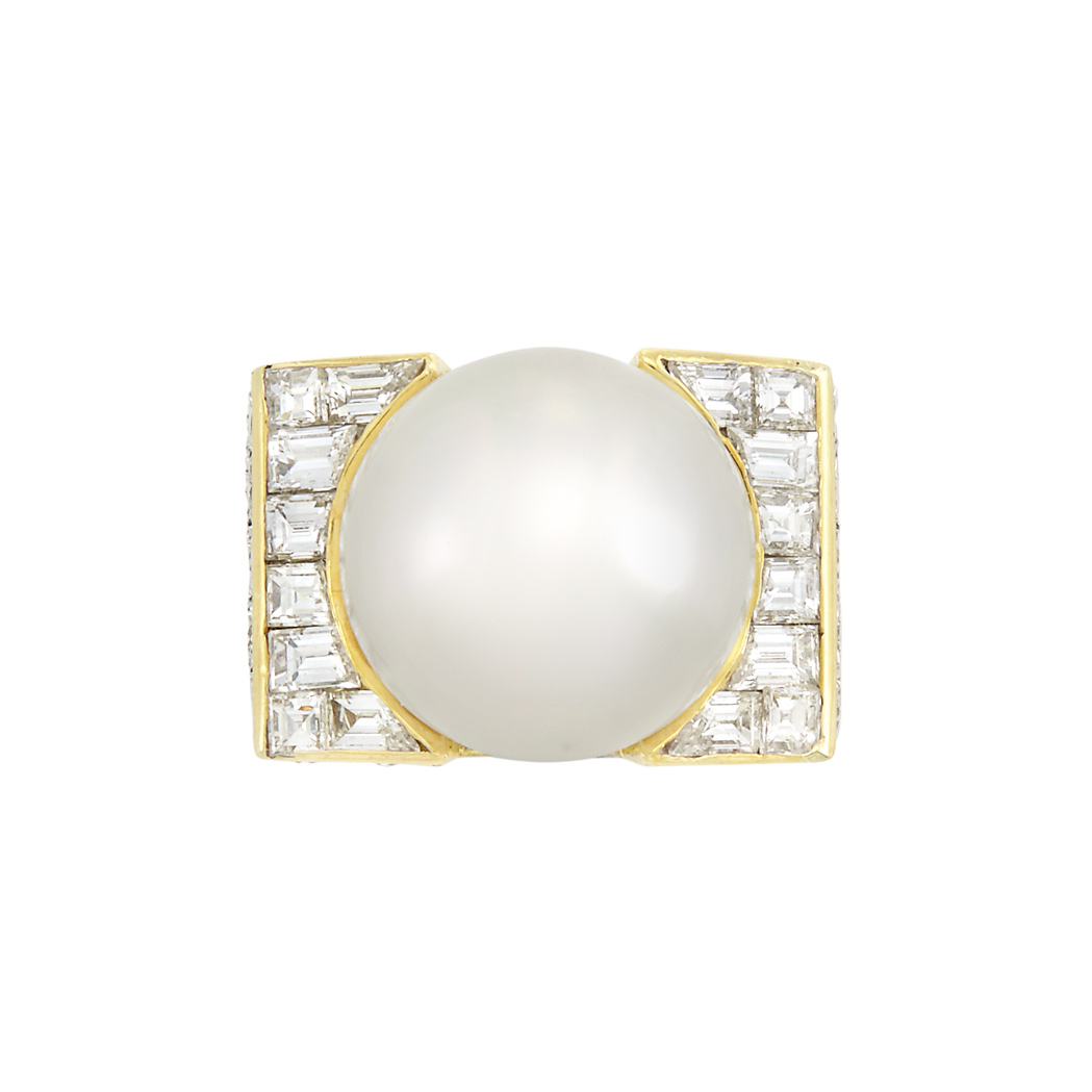 Lot image - Two-Color Gold, South Sea Cultured Pearl and Diamond Ring