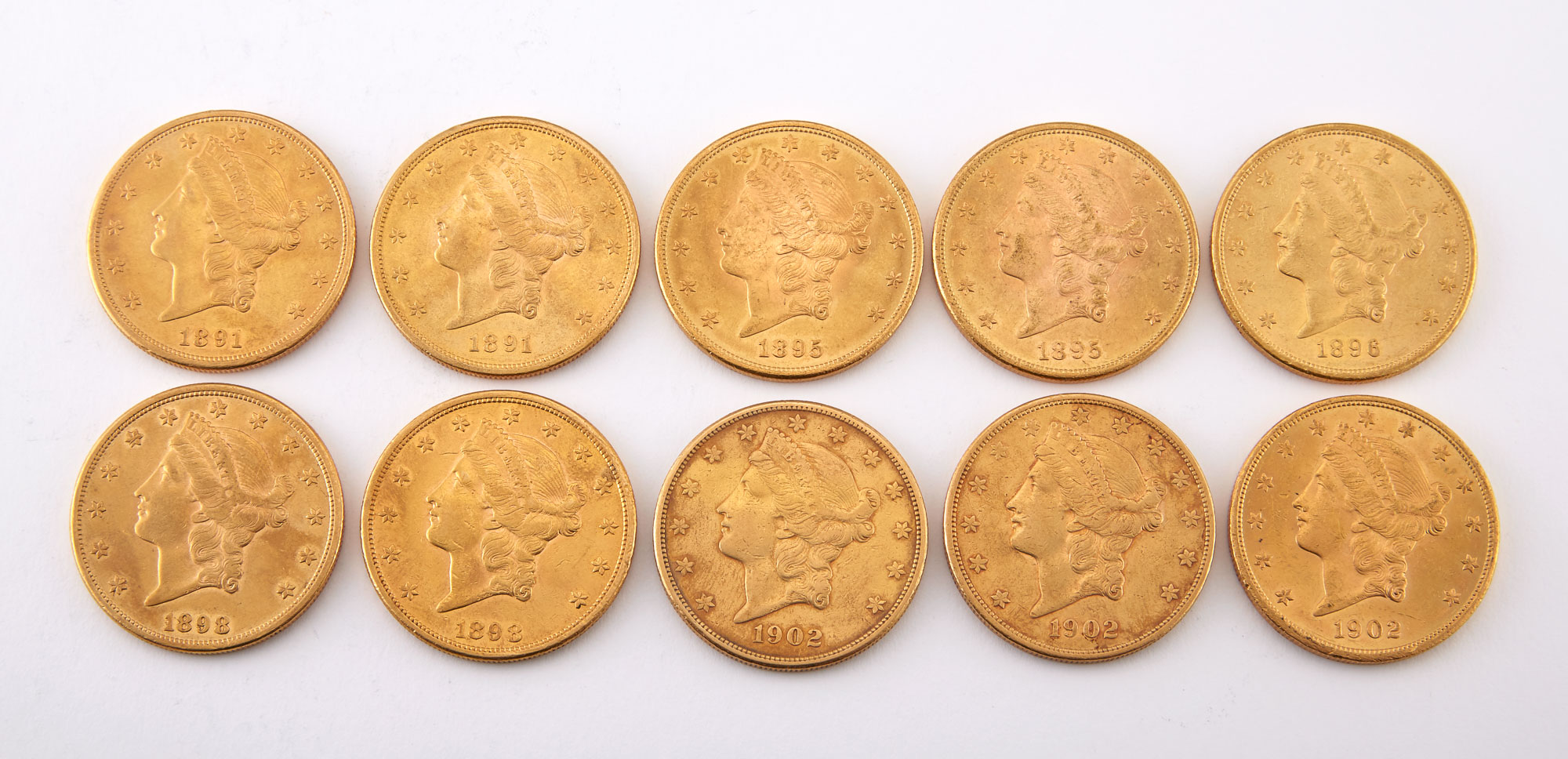 Lot image - United States Liberty Head Double Eagle Group of Ten