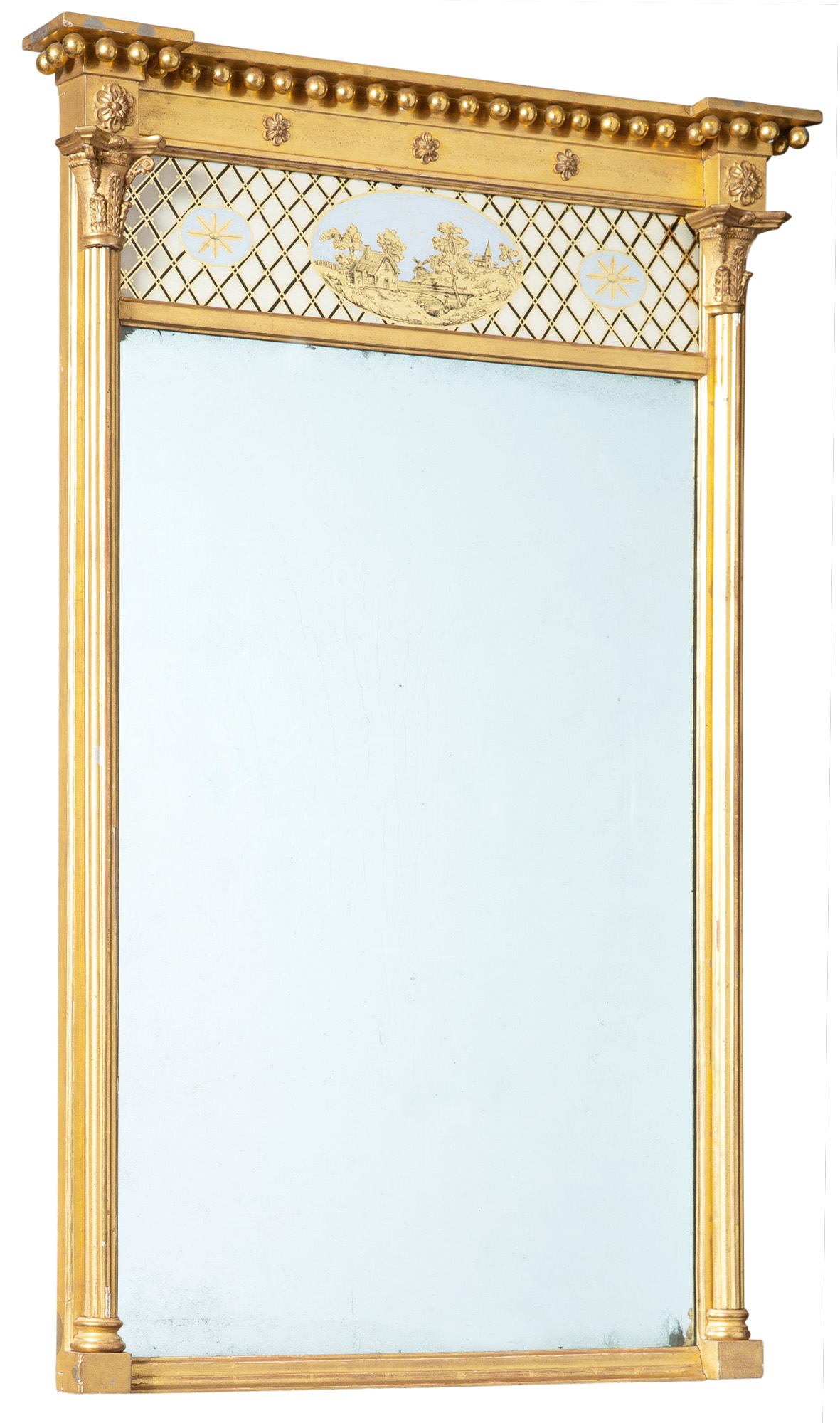 Lot image - Federal Verre Églomisé Decorated Giltwood Mirror