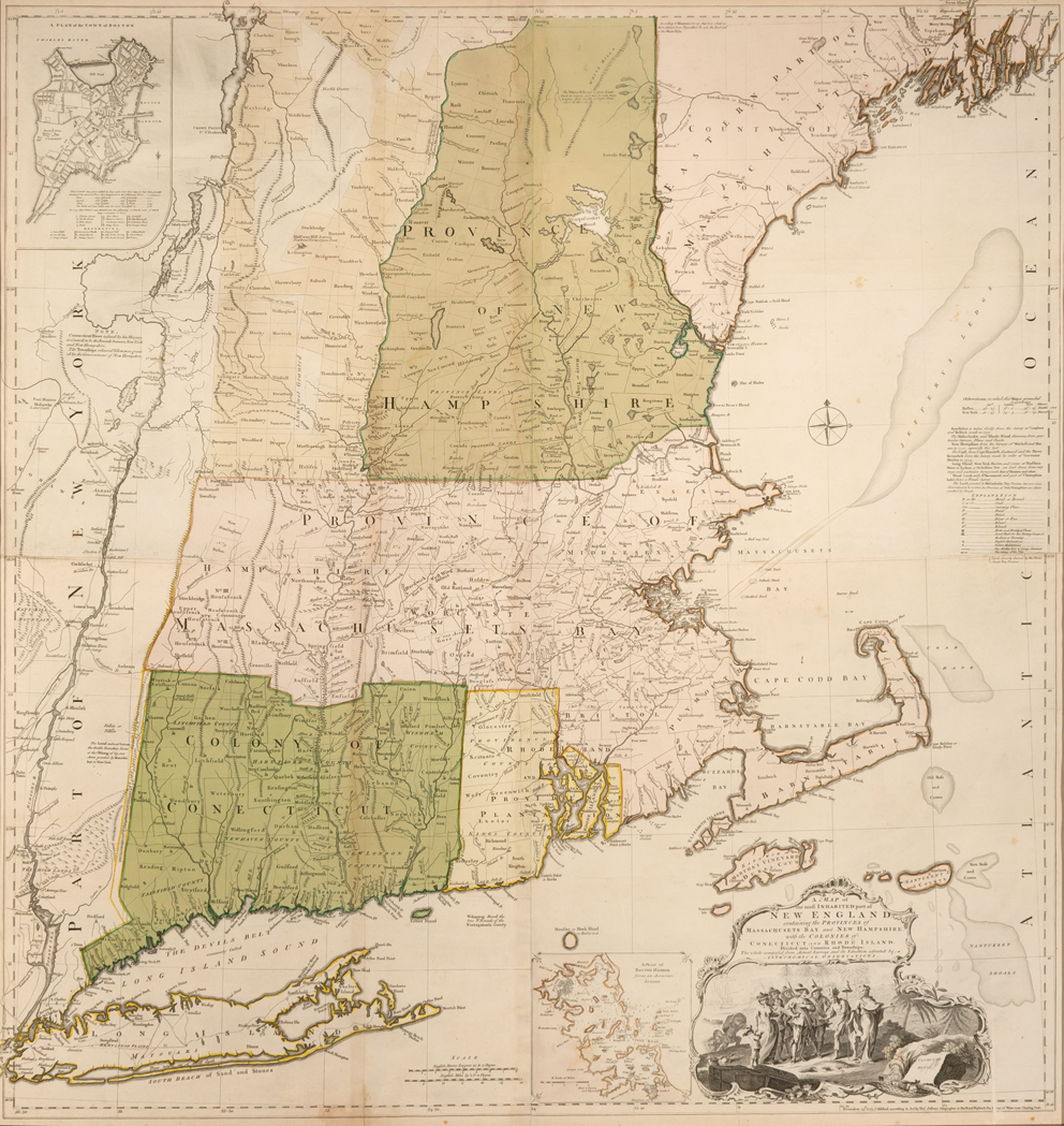 Lot image - JEFFERYS, THOMAS & MEAD, BRADDOCK A Map of the Most Inhabited part of New England containing the Provinces of Massachusetts Bay...