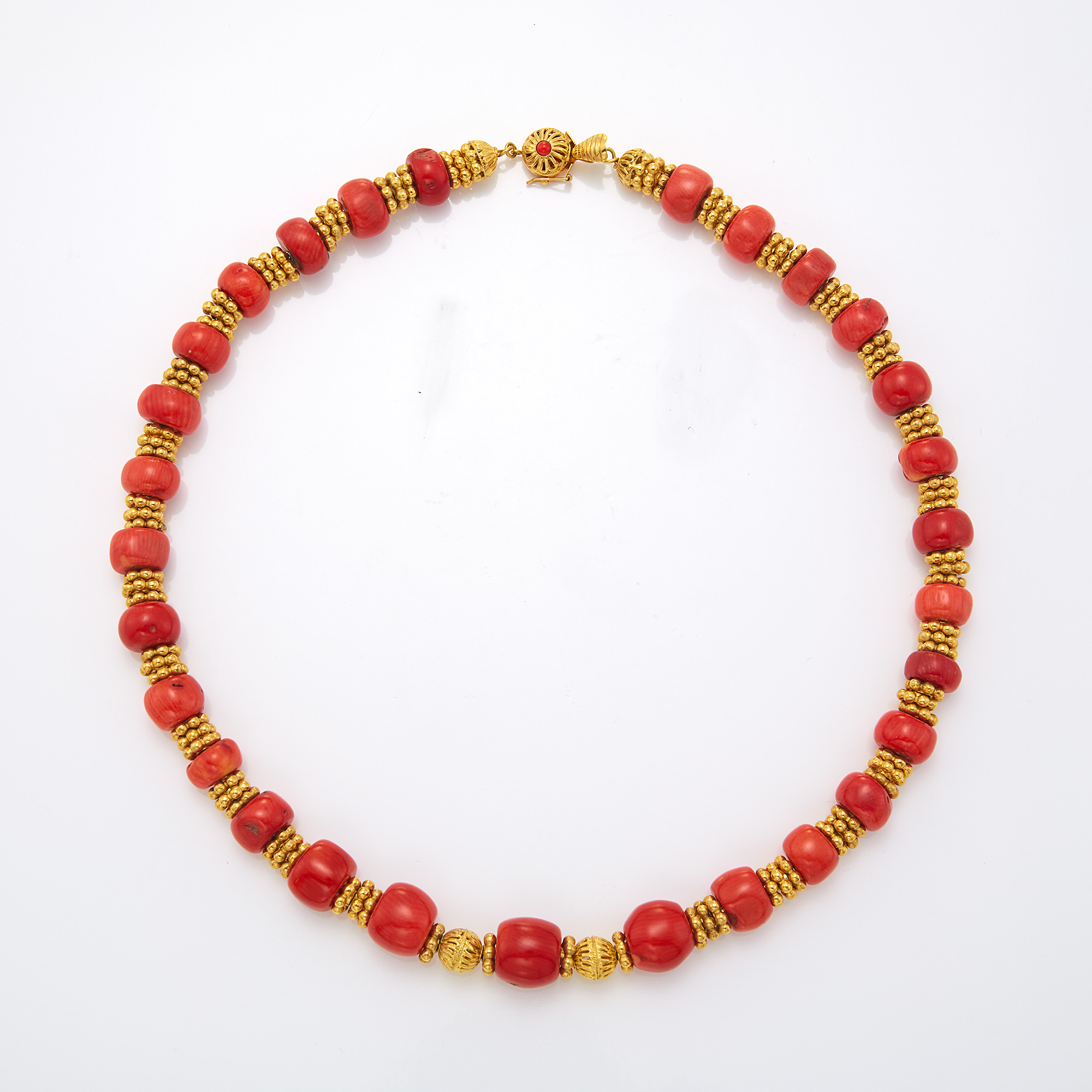 Lot image - Coral and Gold Bead Necklace