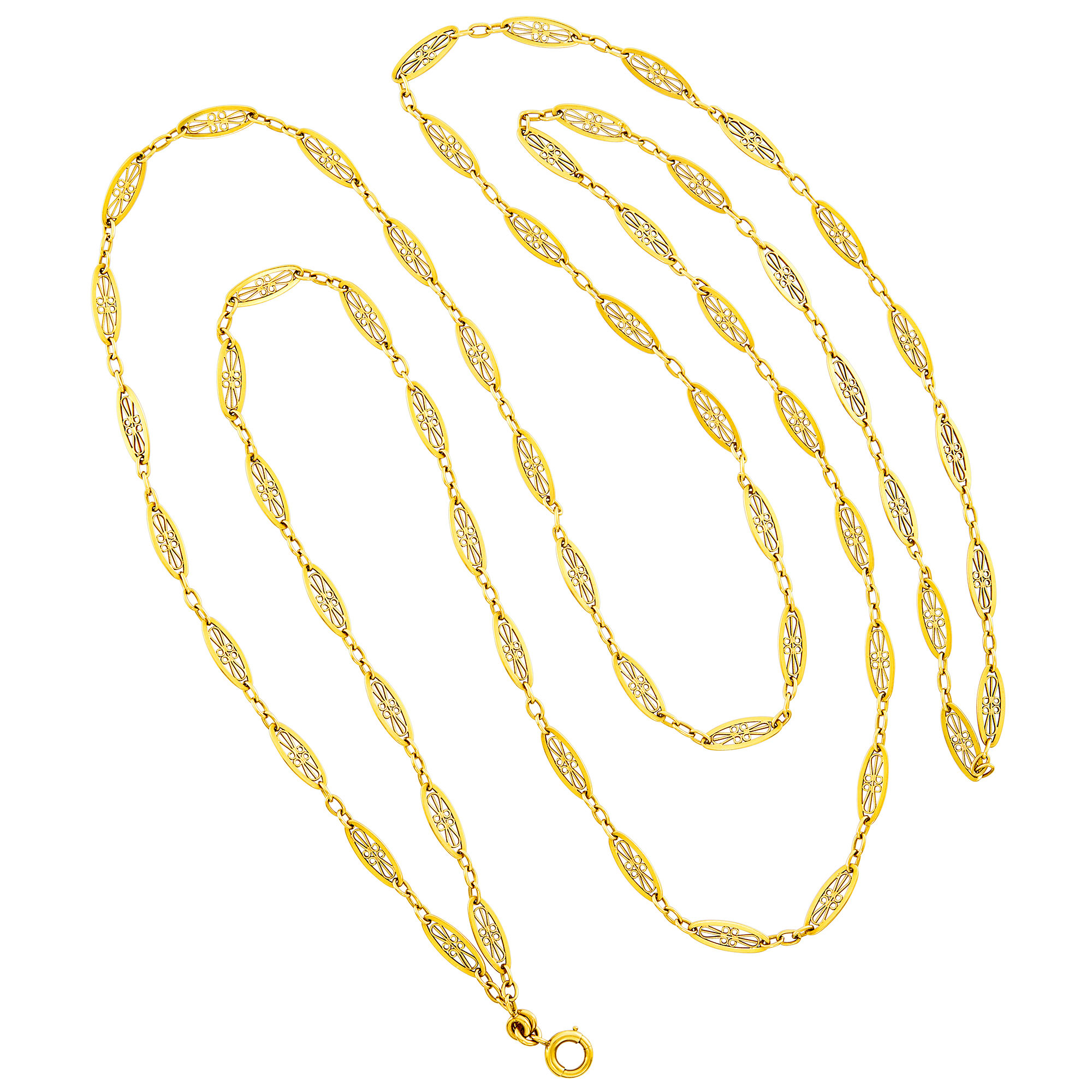 Lot image - Long Antique Gold Chain Necklace, France