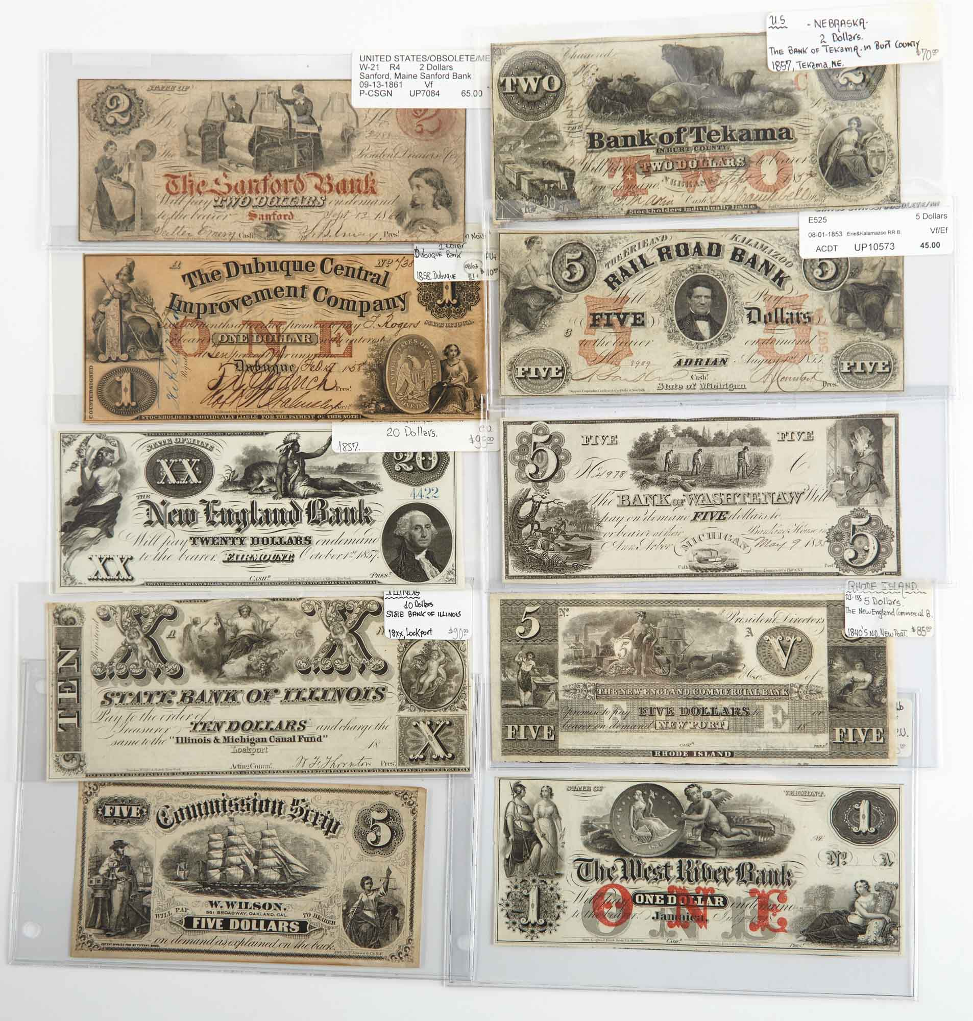 Lot image - United States Northern and Western Obsolete Currency