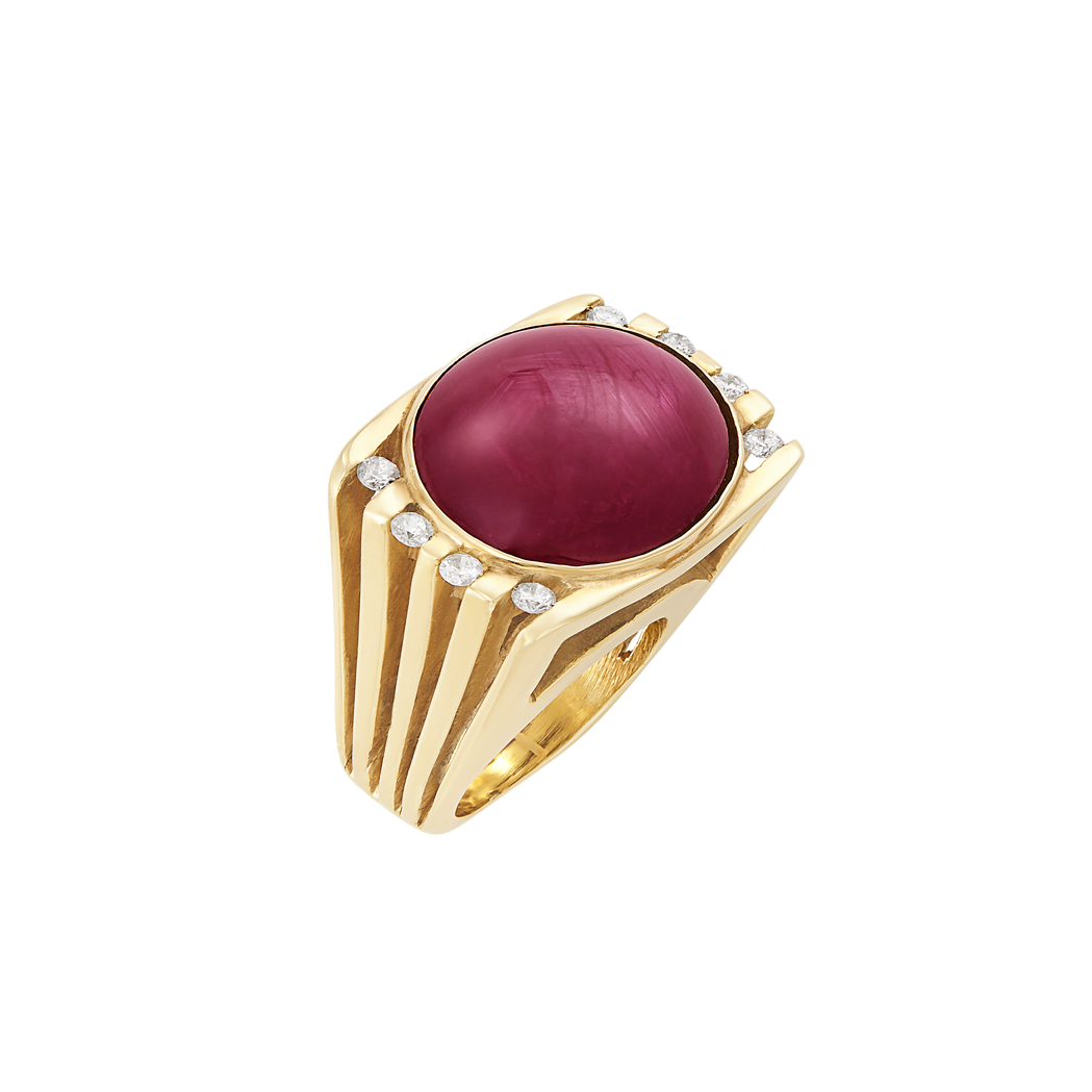 Lot image - Gold, Star Ruby and Diamond Ring