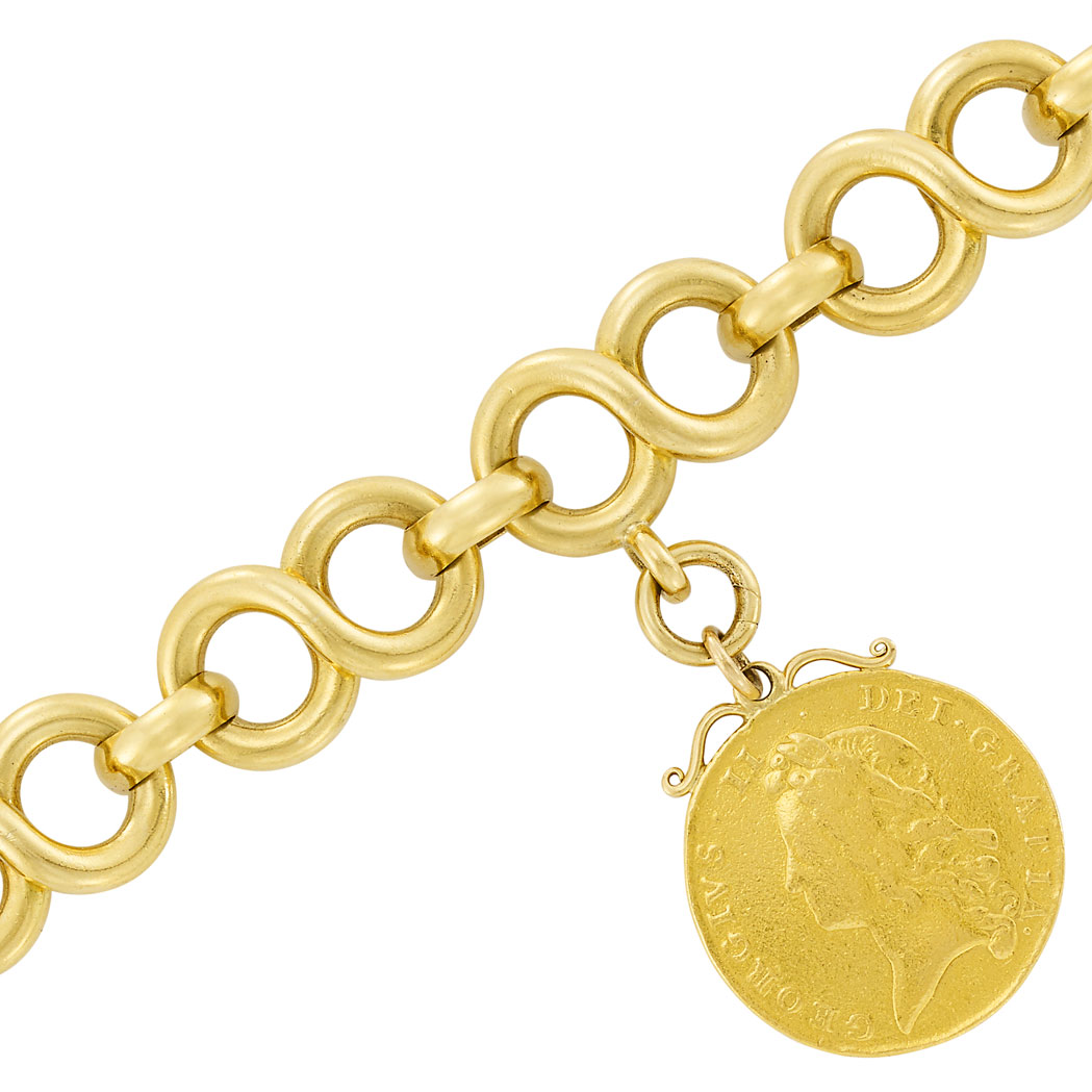 Lot image - Gold Link Bracelet with High Karat Gold Medallion Charm