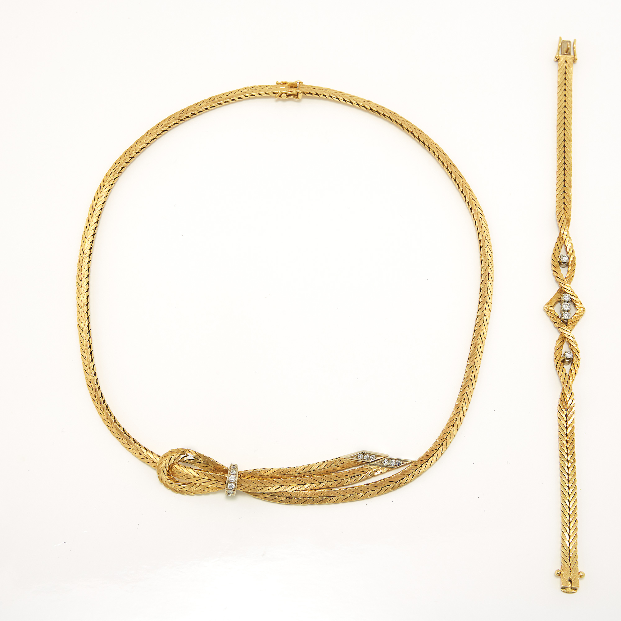 Lot image - Gold and Diamond Bracelet and Necklace