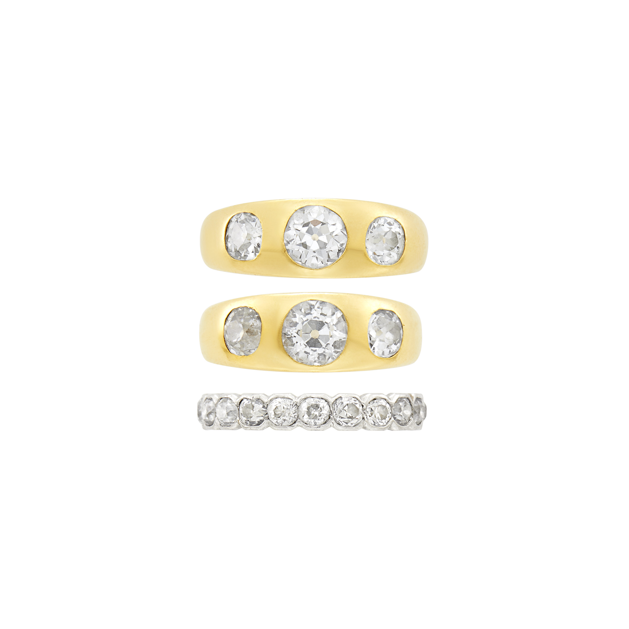 Lot image - Two Gold and Diamond Gypsy Rings and Platinum, Gold and Diamond Band Ring