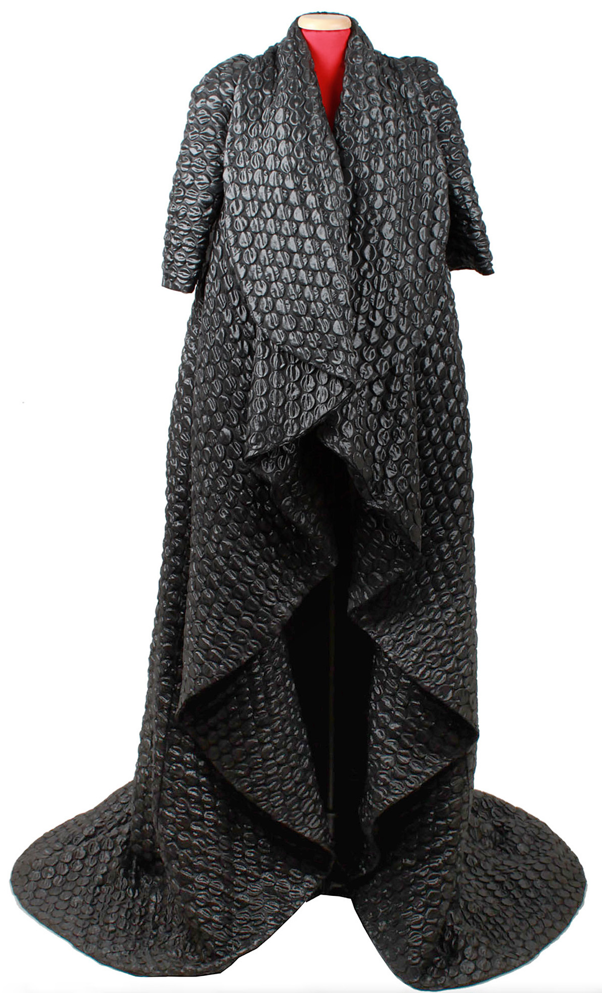 Lot image - Quilted Dark Gray Silk Blend Coat, Horn of Plenty, Autumn-Winter, 2009