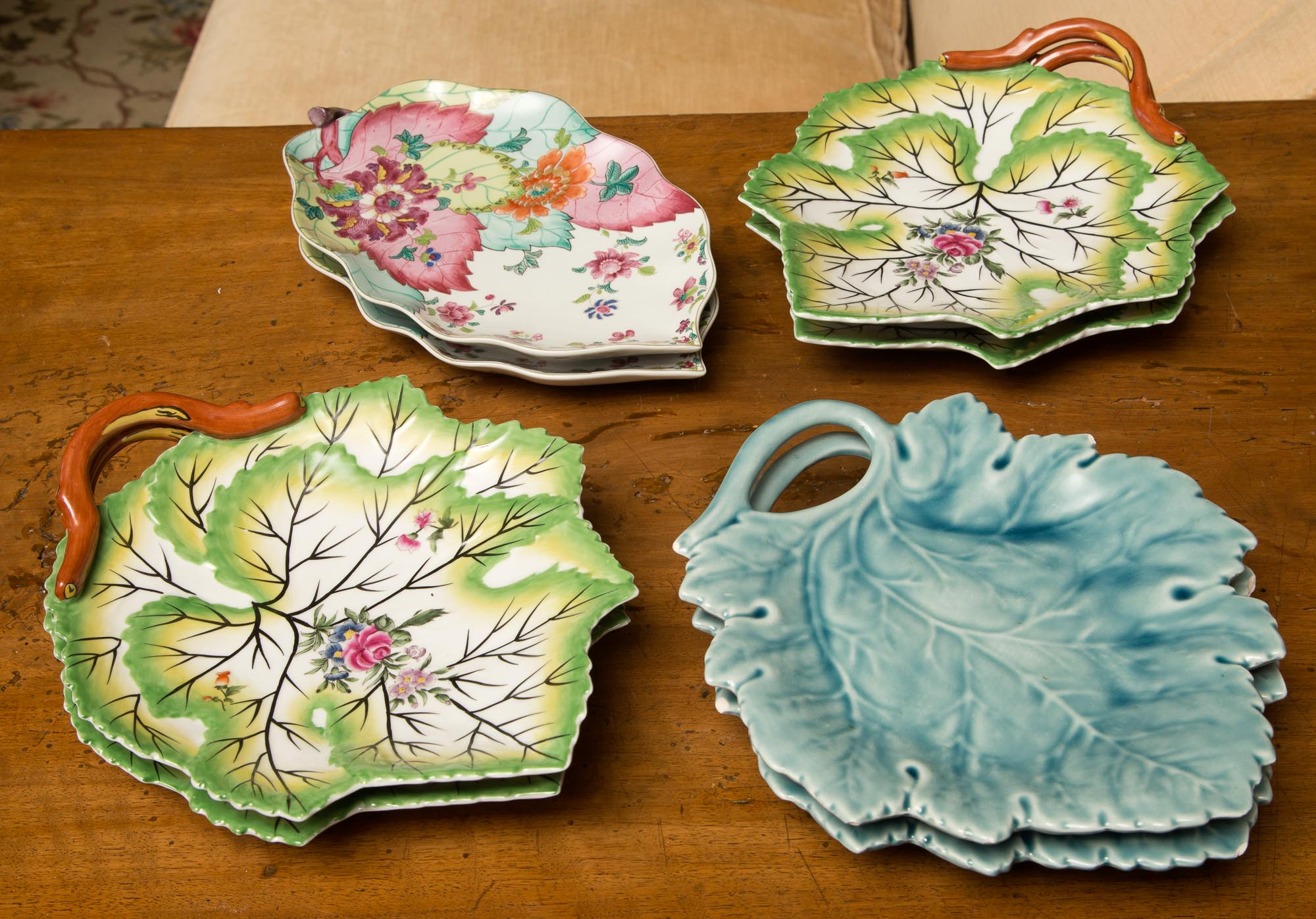 Lot image - Four Pairs of Porcelain and Pottery Leaf Dishes